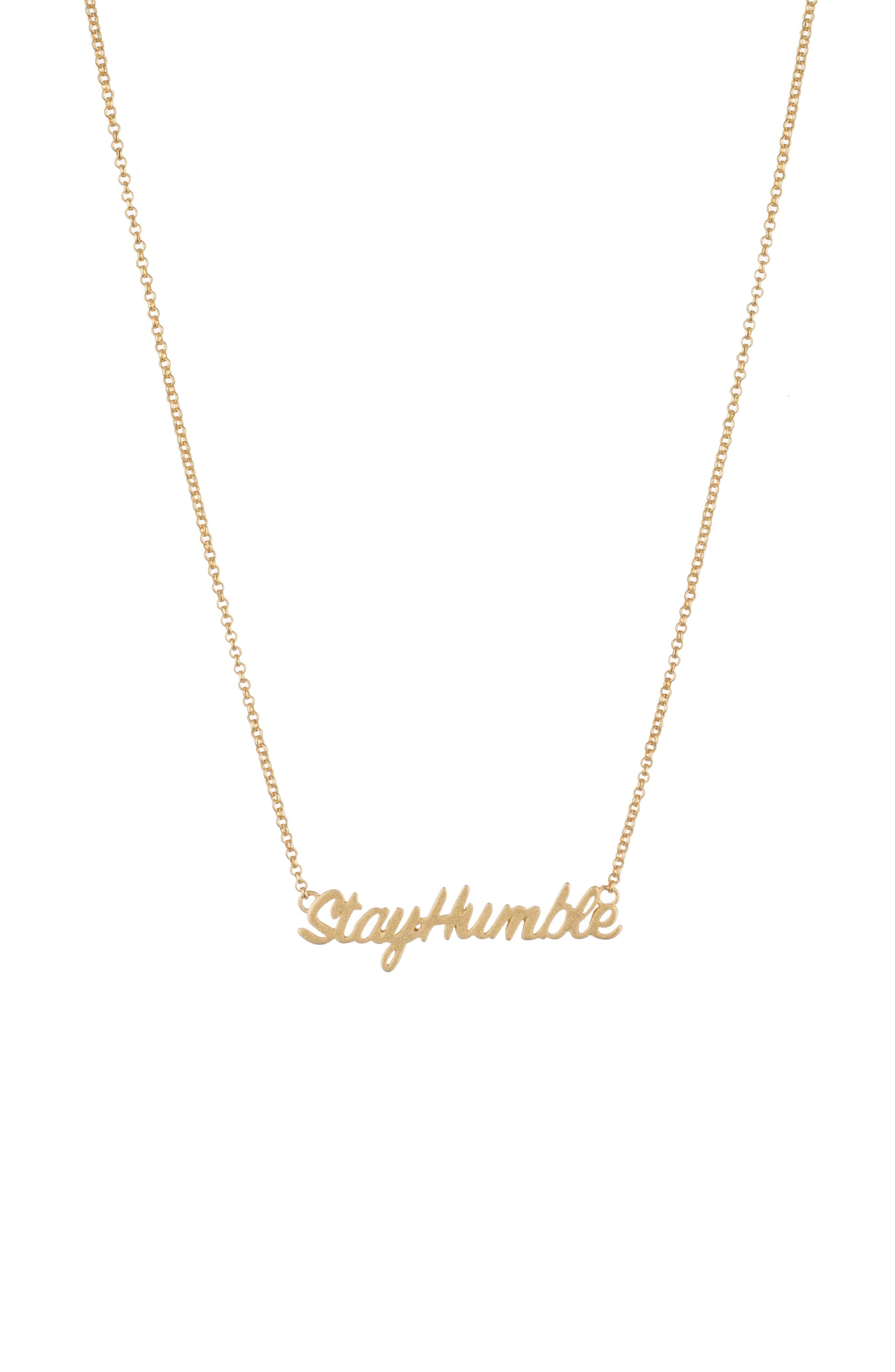 Stay Humble Necklace,                             Main thumbnail 1, color,                             Gold