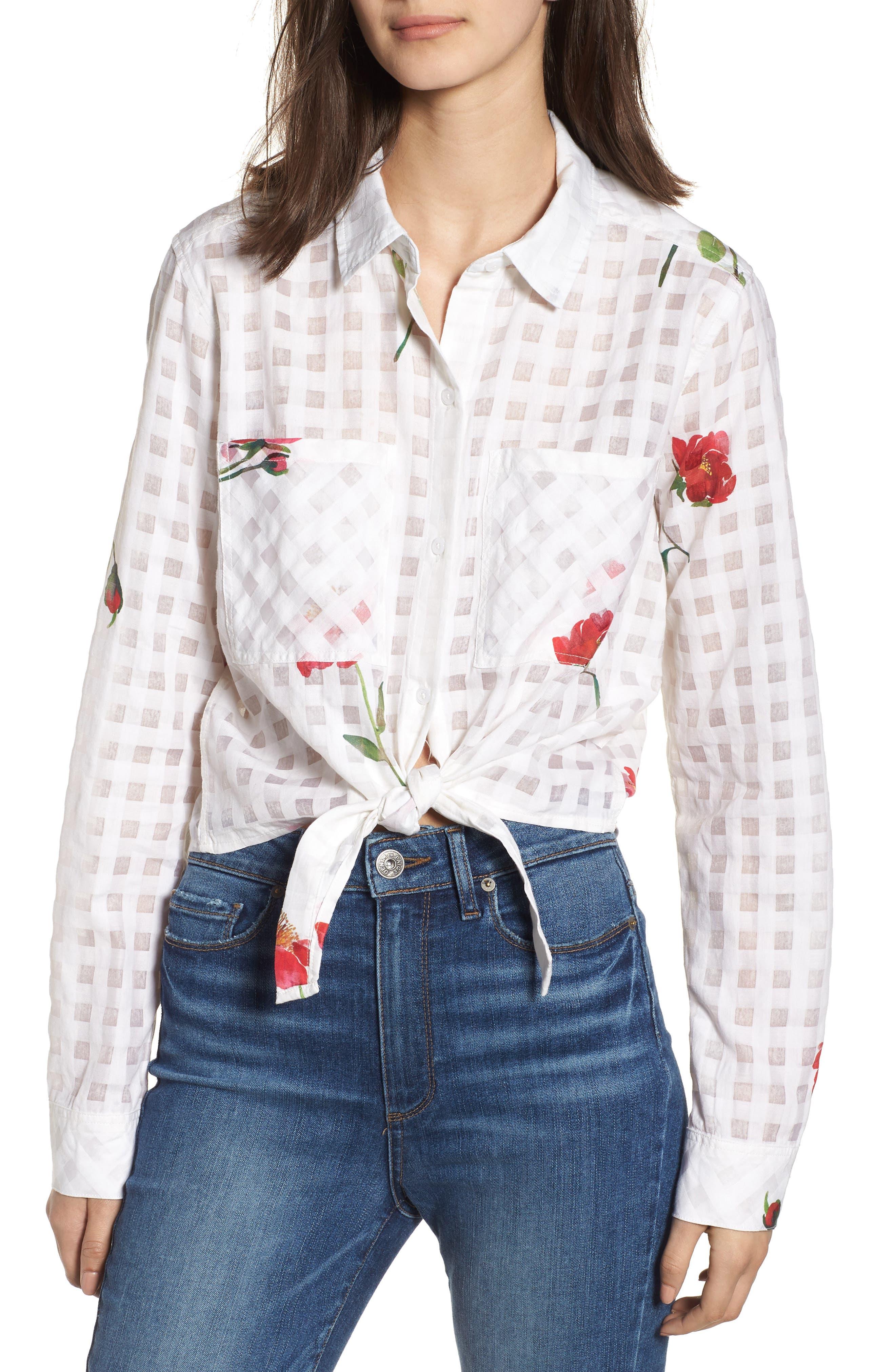 Kelsey Tie Front Shirt,                             Main thumbnail 1, color,                             Floral Powder Check