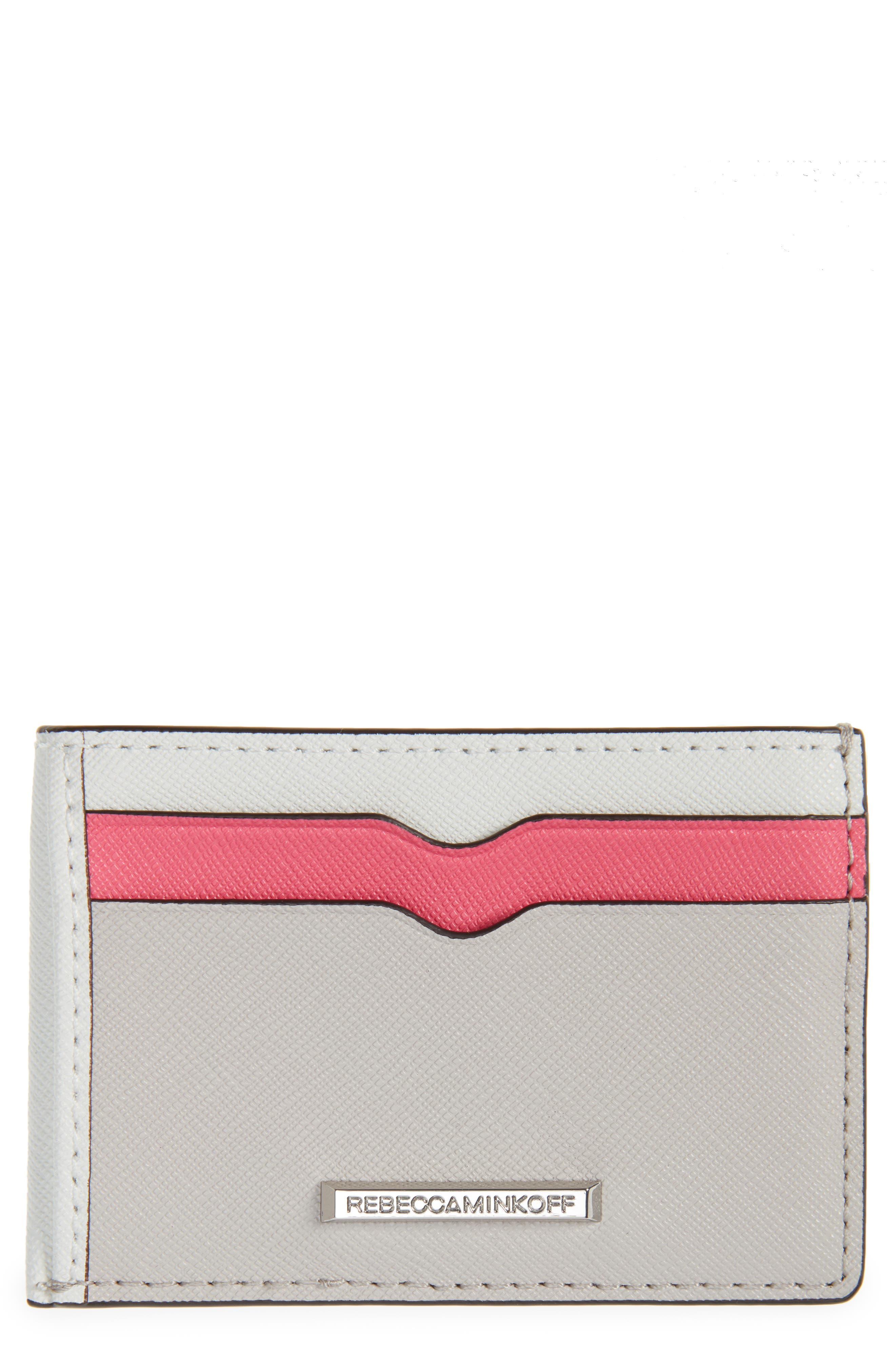 Metro Leather Card Case,                         Main,                         color, Pink Multi