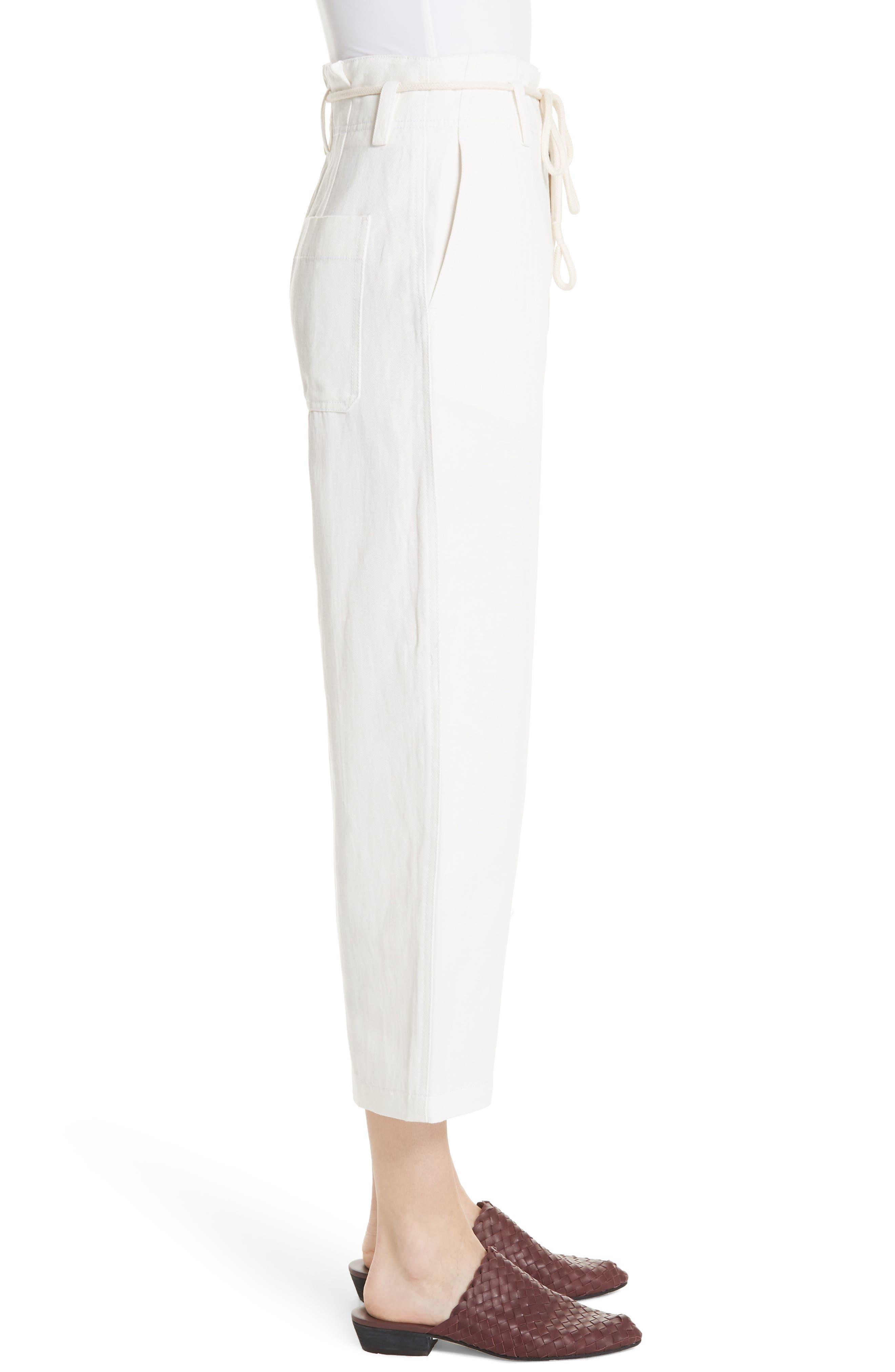 High Rise Linen Cotton Crop Pants,                             Alternate thumbnail 3, color,                             Off White