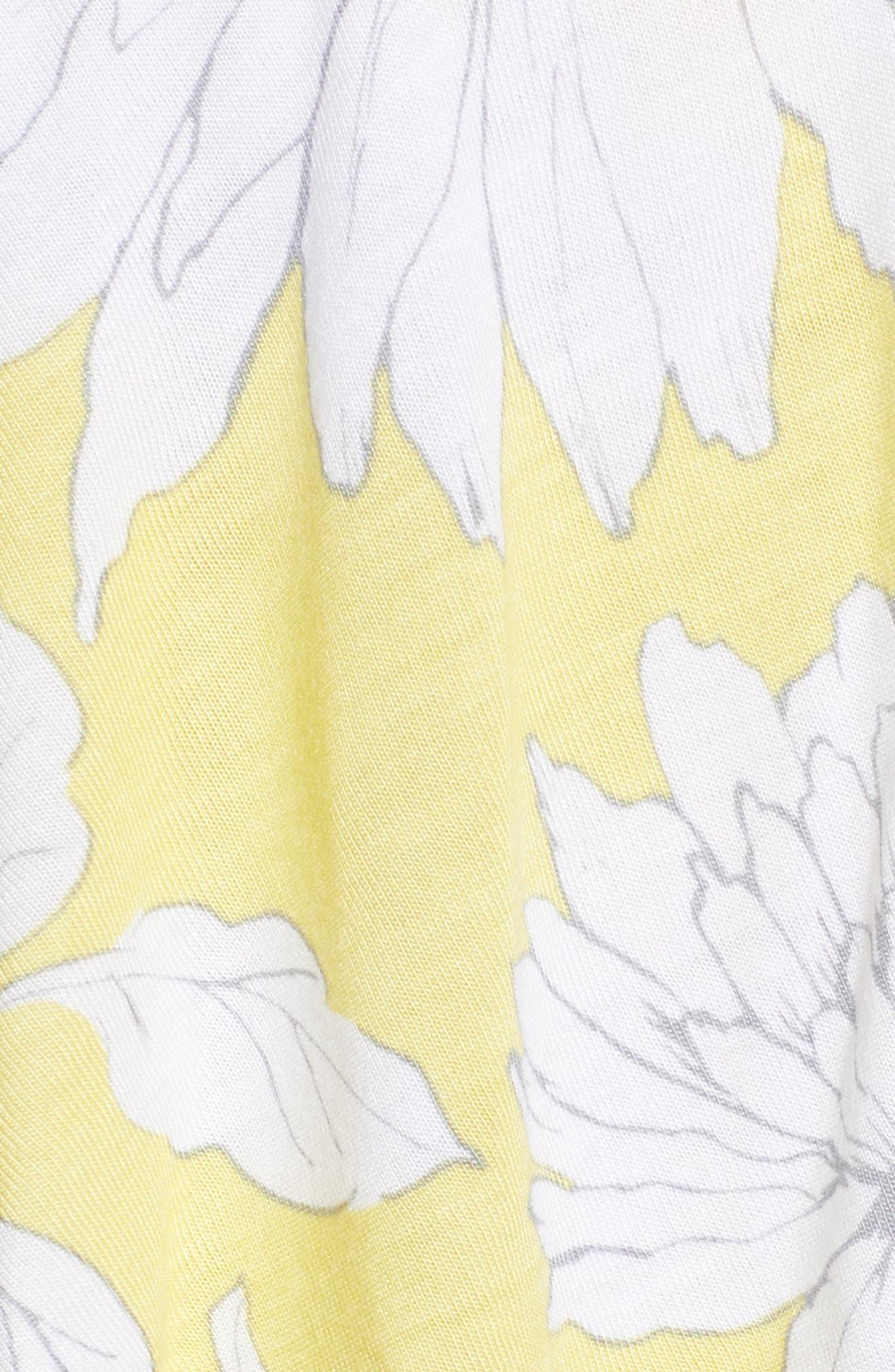Print Ruffle Bodysuit,                             Alternate thumbnail 5, color,                             Yellow Glow Grunge Floral