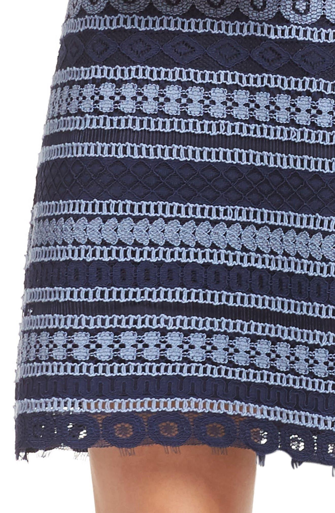 Stripe Racerback Lace Dress,                             Alternate thumbnail 4, color,                             Navy/ Blue