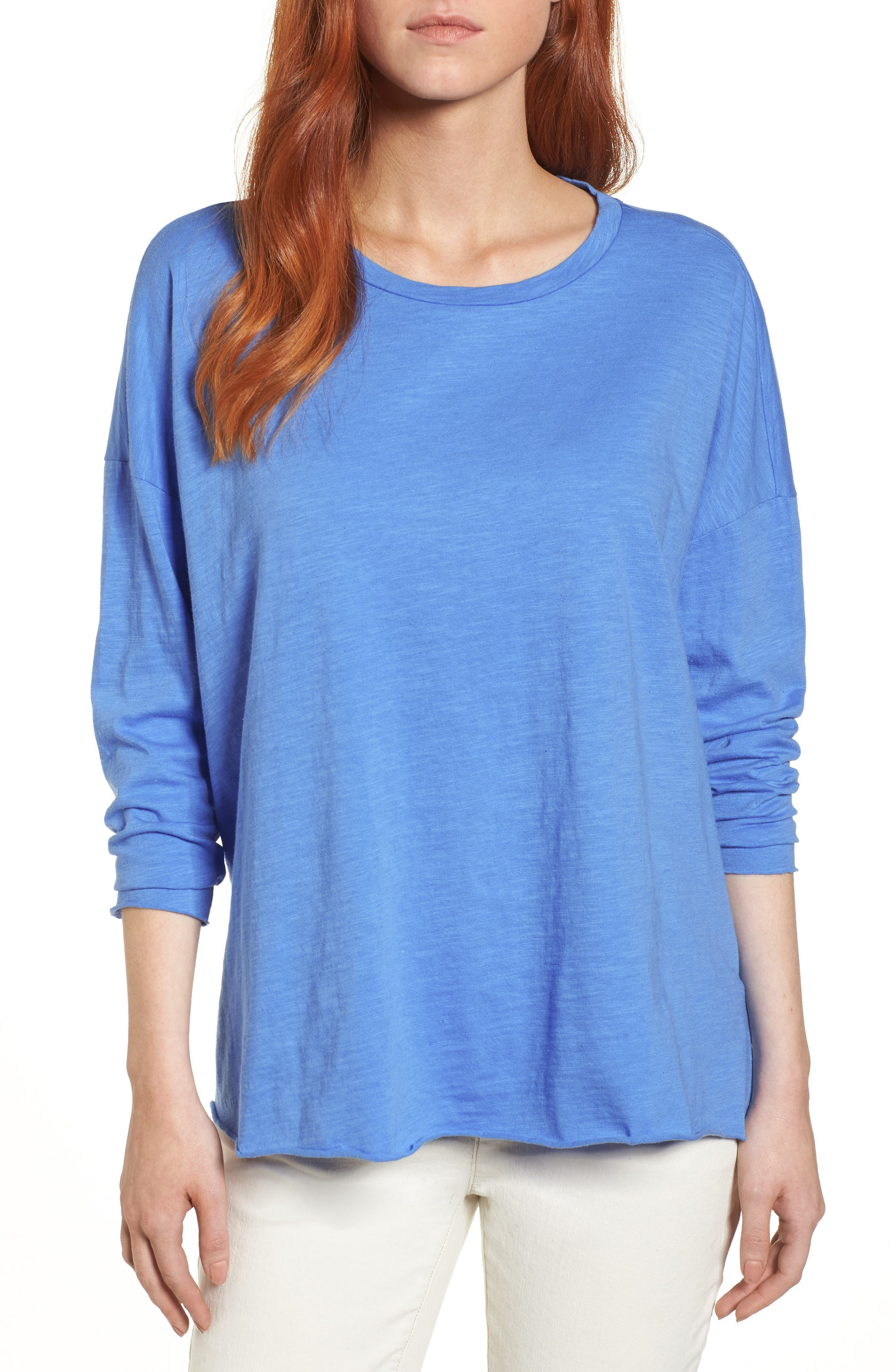 Organic Cotton Knit Top,                         Main,                         color, Blue Bell