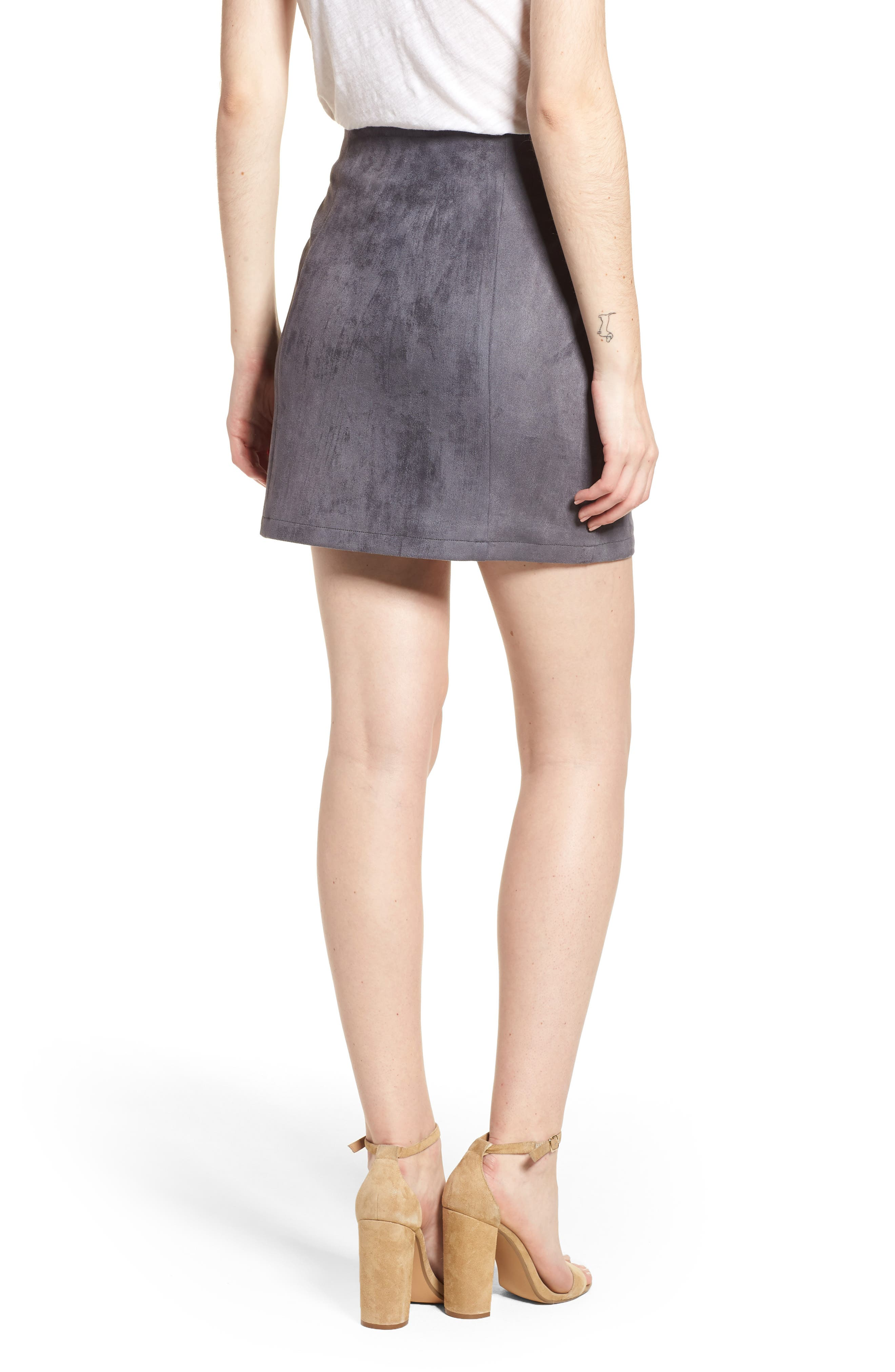 Bishop + Young Front Snap Faux Suede Miniskirt,                             Alternate thumbnail 2, color,                             Slate Blue