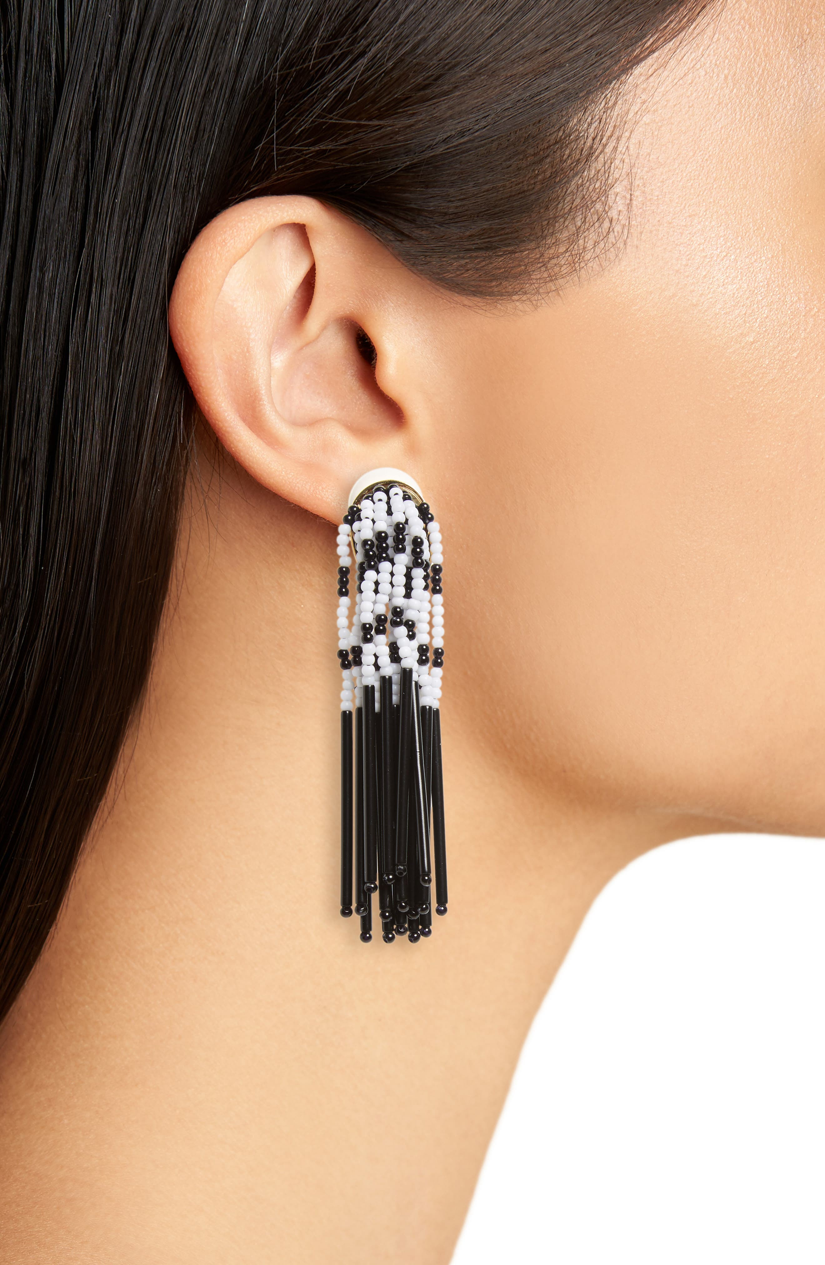 Stripe Fringe Clip Earrings,                             Alternate thumbnail 2, color,                             Black And White