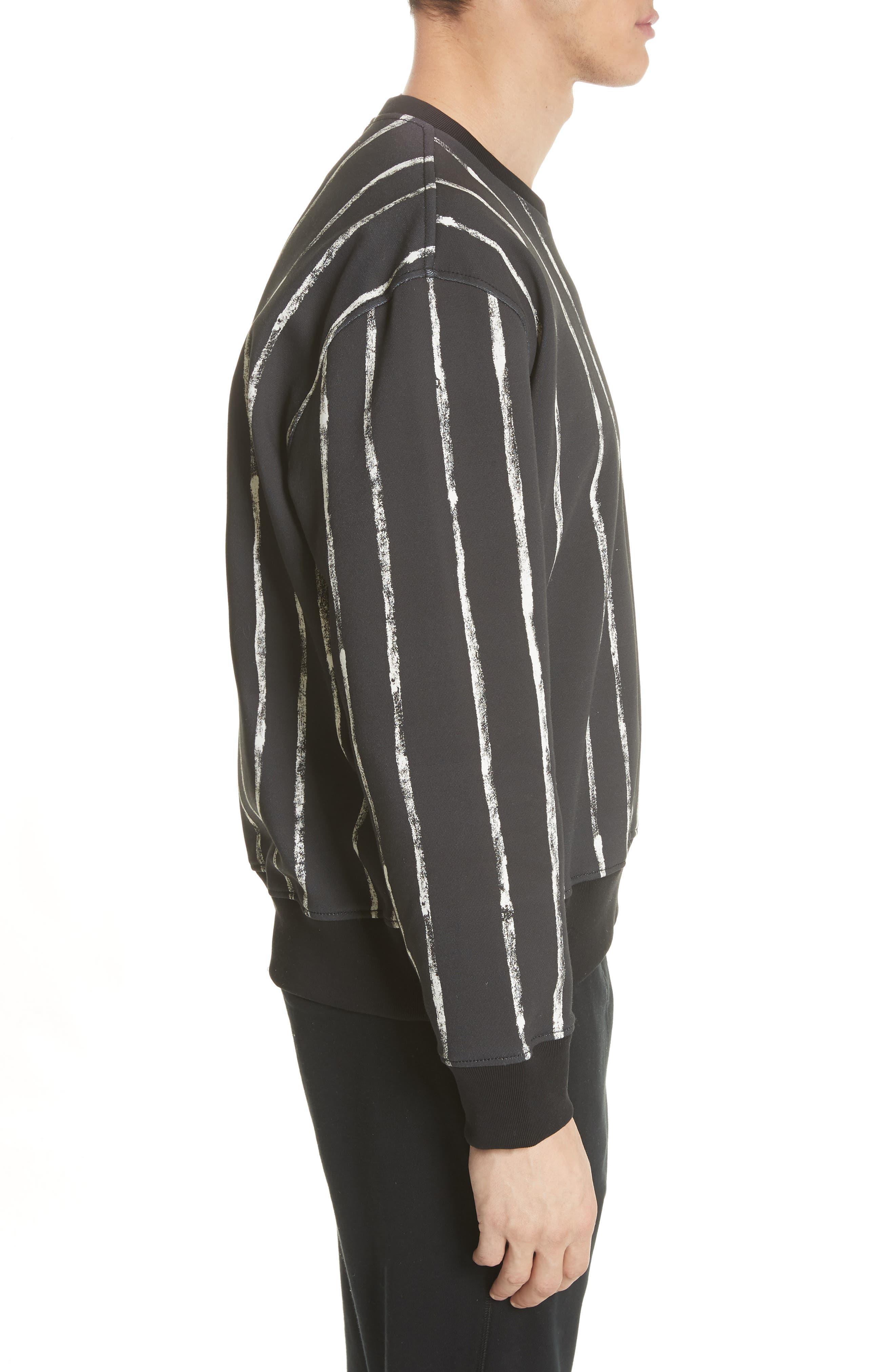 Paint Stripe Crewneck Sweatshirt,                             Alternate thumbnail 3, color,                             Black/ White