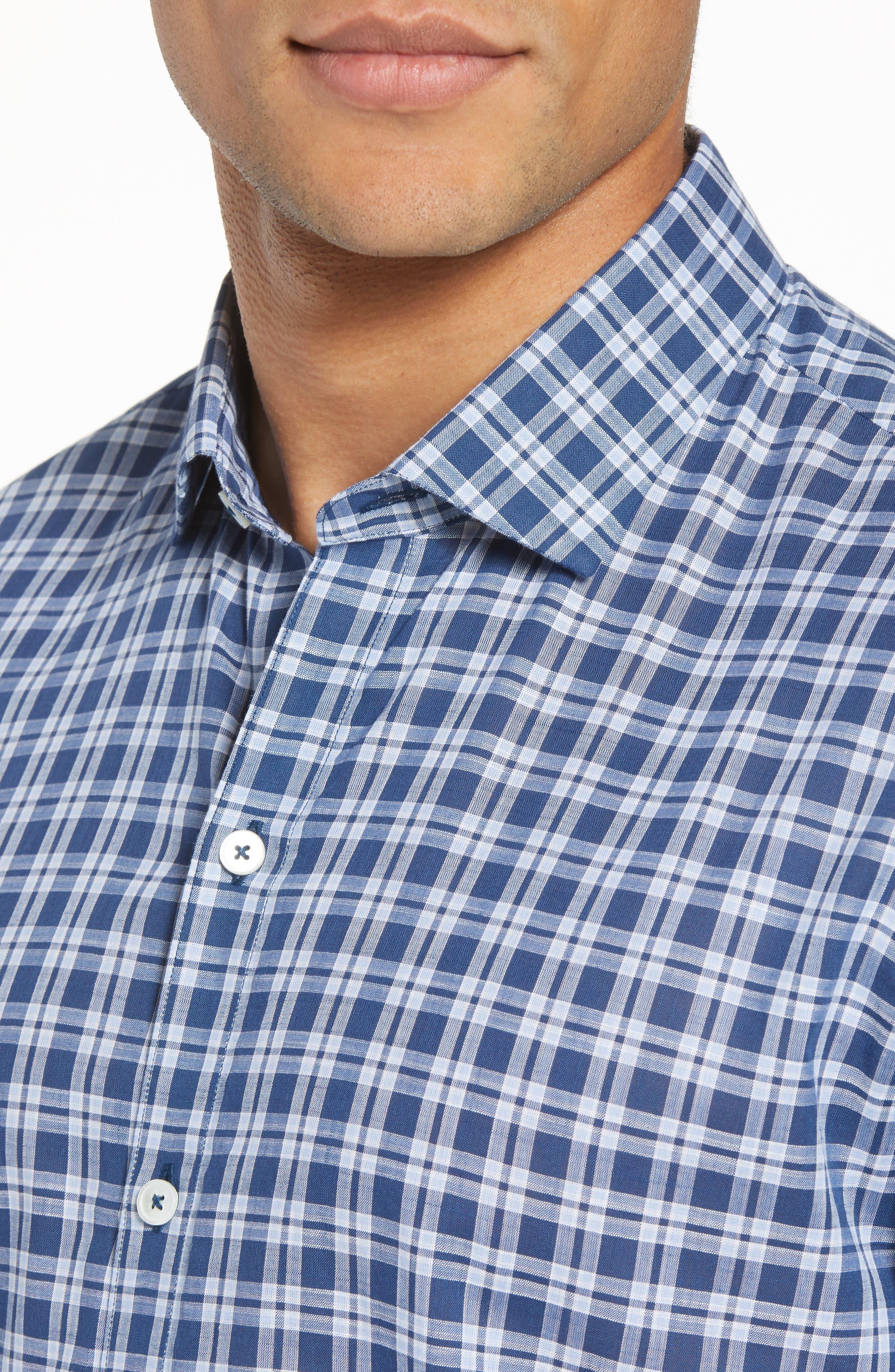 Speer Regular Fit Sport Shirt,                             Alternate thumbnail 4, color,                             Indigo
