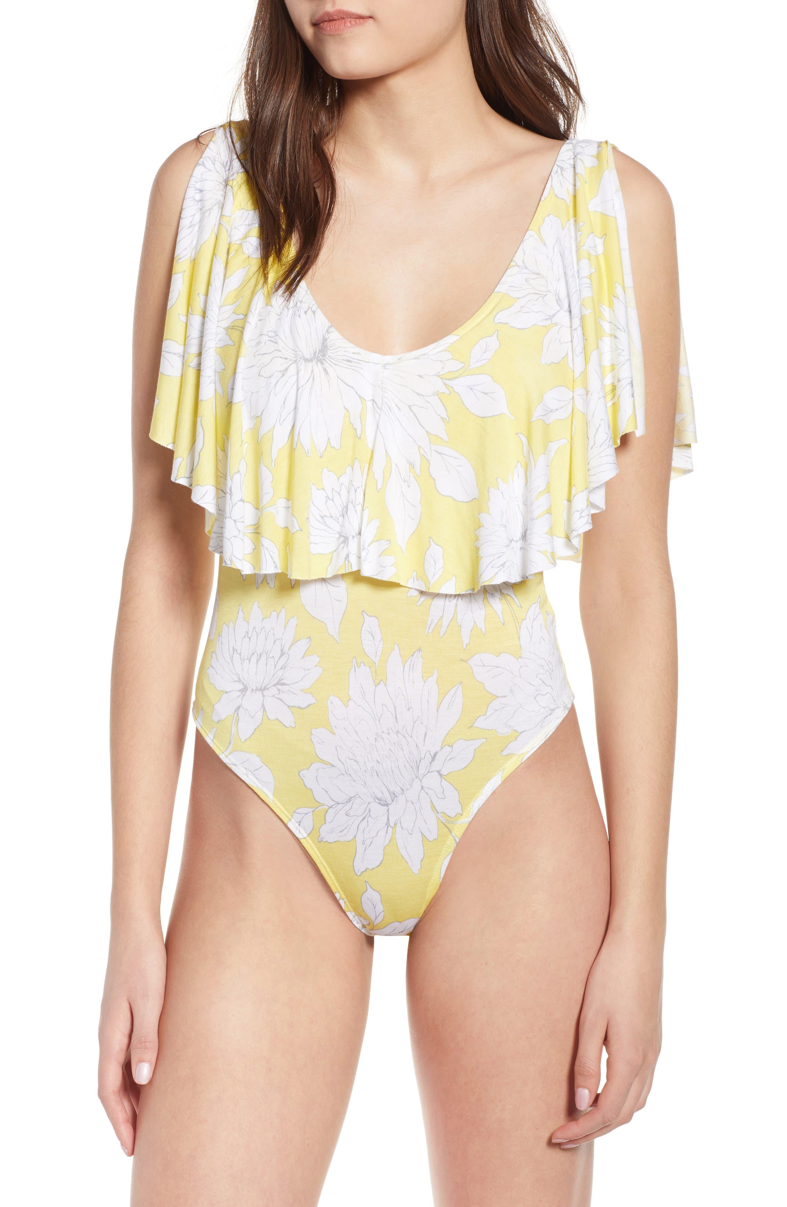 Print Ruffle Bodysuit,                             Alternate thumbnail 2, color,                             Yellow Glow Grunge Floral
