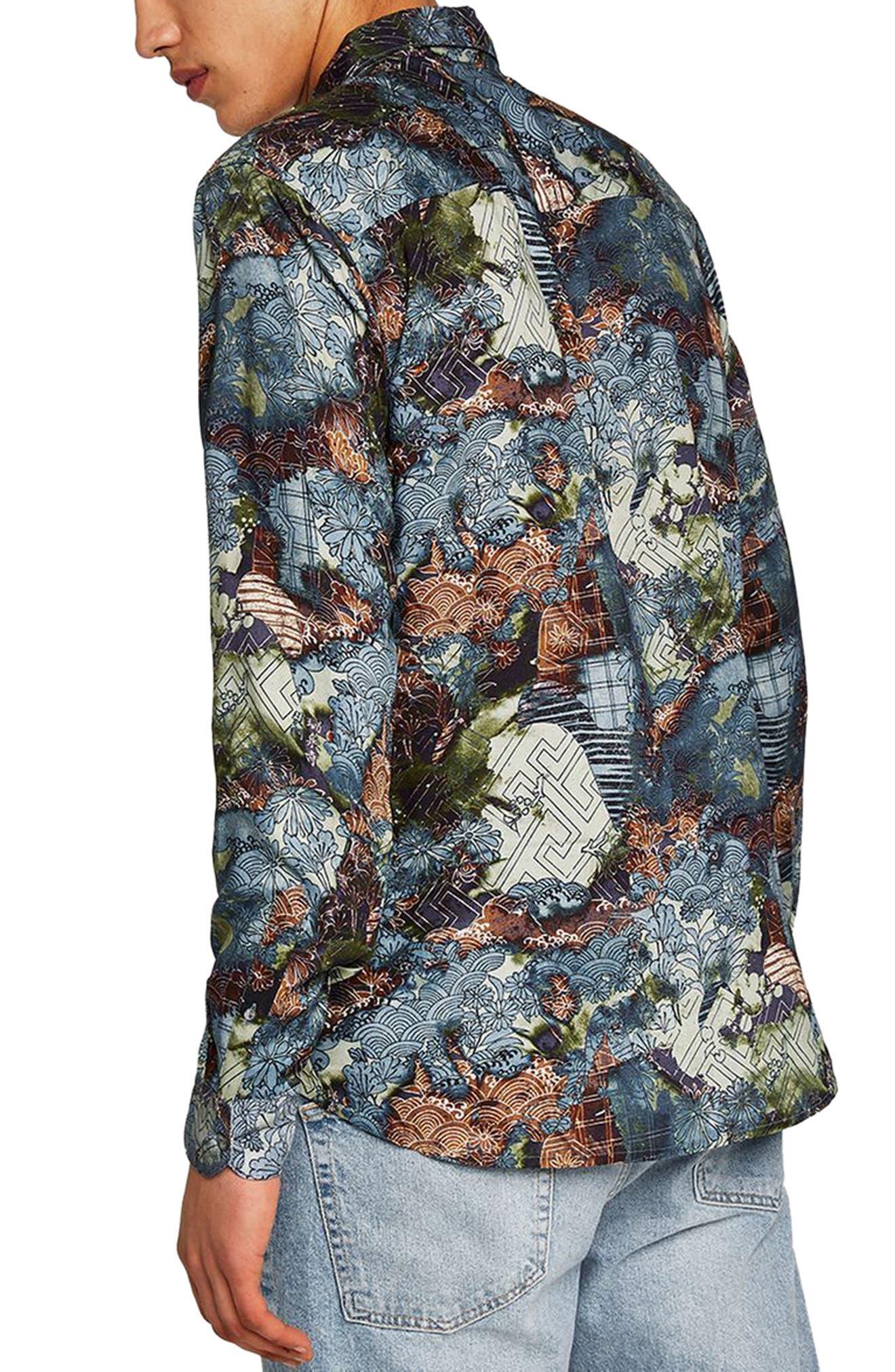 Multi Print Shirt,                             Alternate thumbnail 2, color,                             Blue Multi