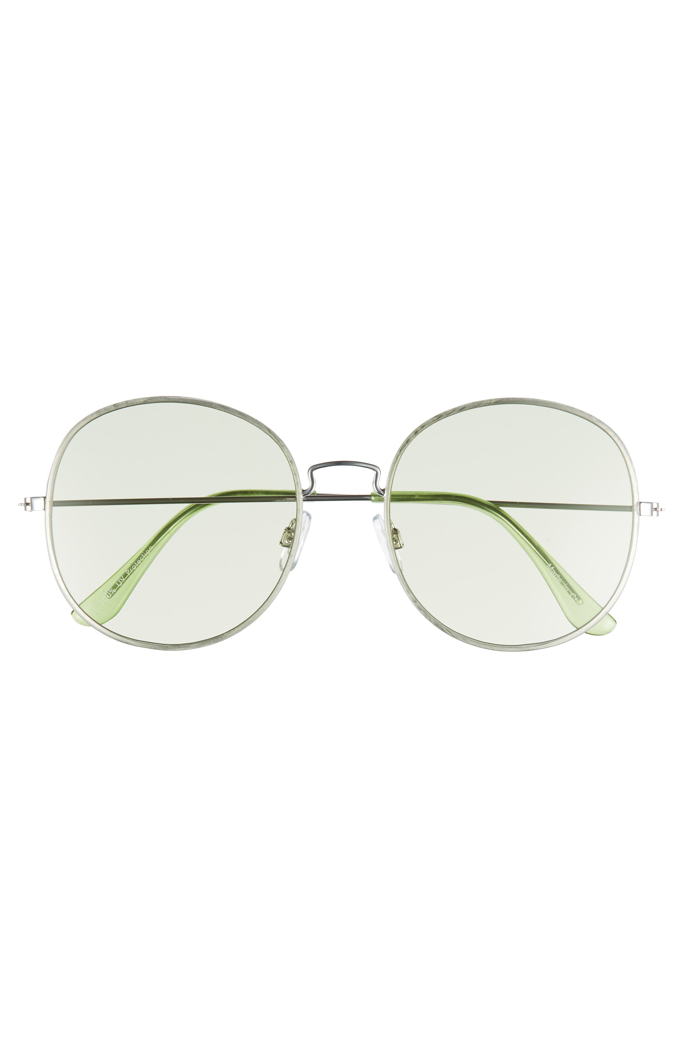 57mm Flat Round Sunglasses,                             Alternate thumbnail 3, color,                             Green