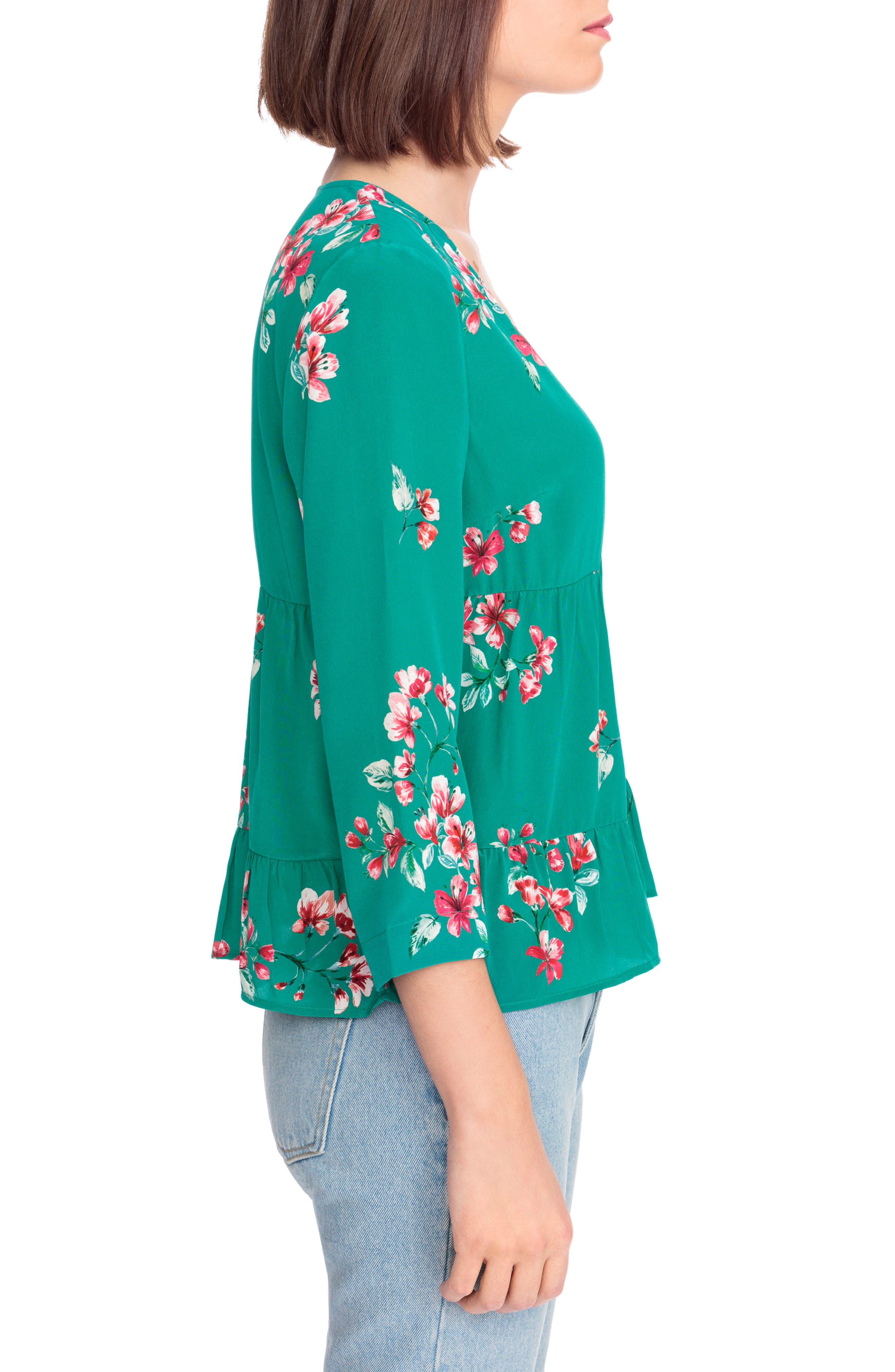 Anna Floral Silk Blouse,                             Alternate thumbnail 4, color,                             Bouquet Print On Green