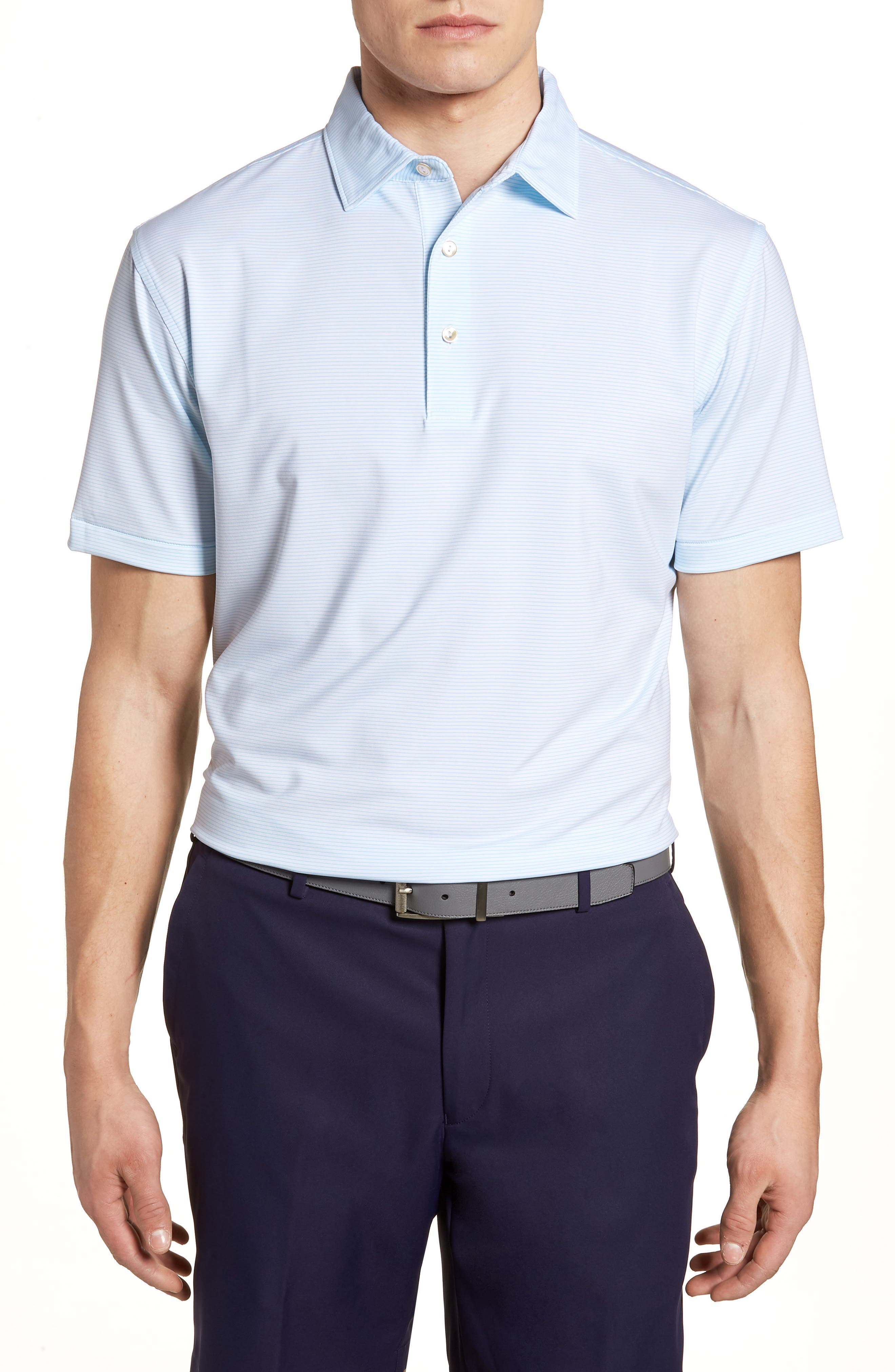 Halford Stripe Stretch Jersey Polo,                             Main thumbnail 1, color,                             White/ Grotto Blue