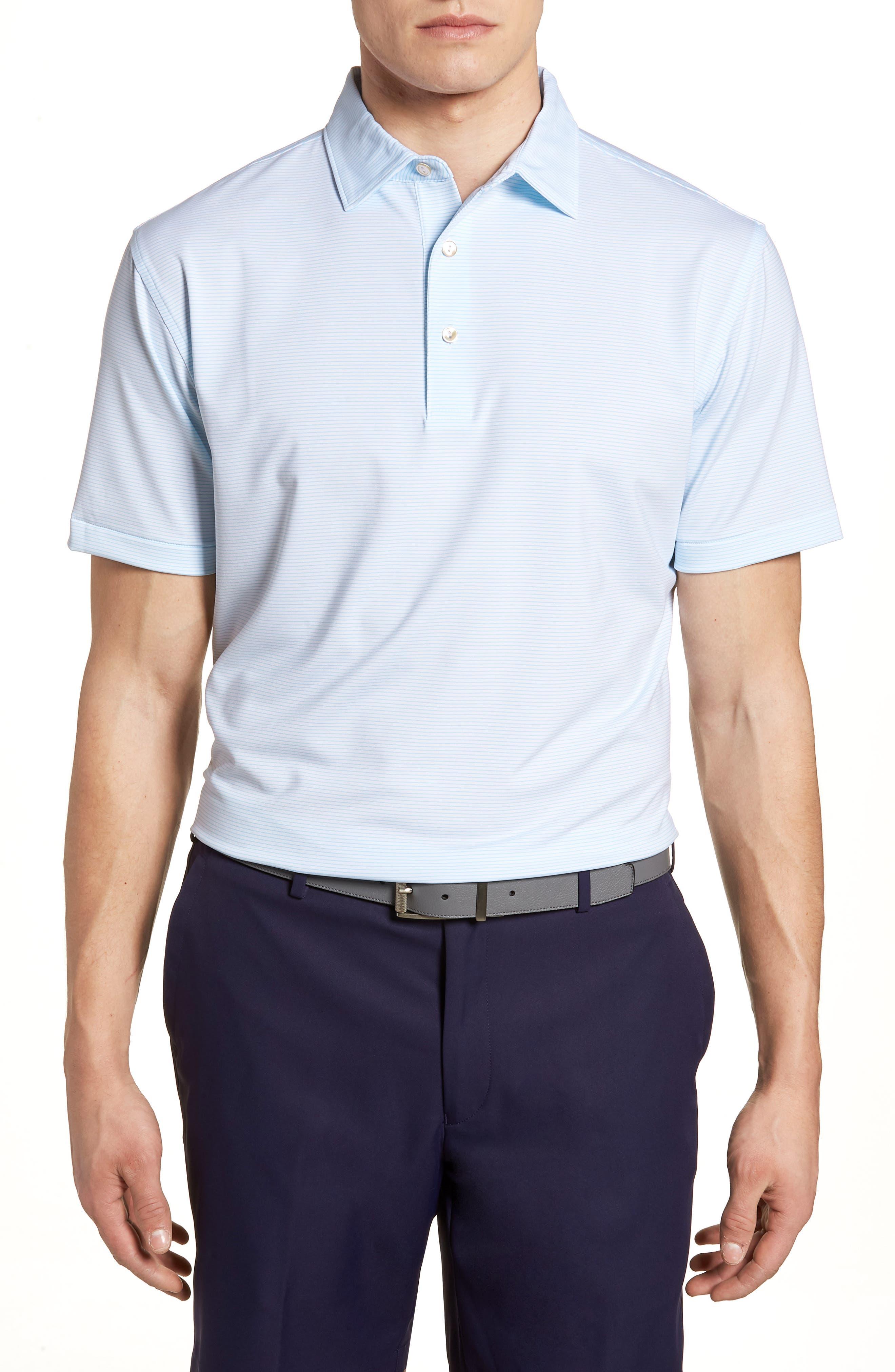 Halford Stripe Stretch Jersey Polo,                         Main,                         color, White/ Grotto Blue