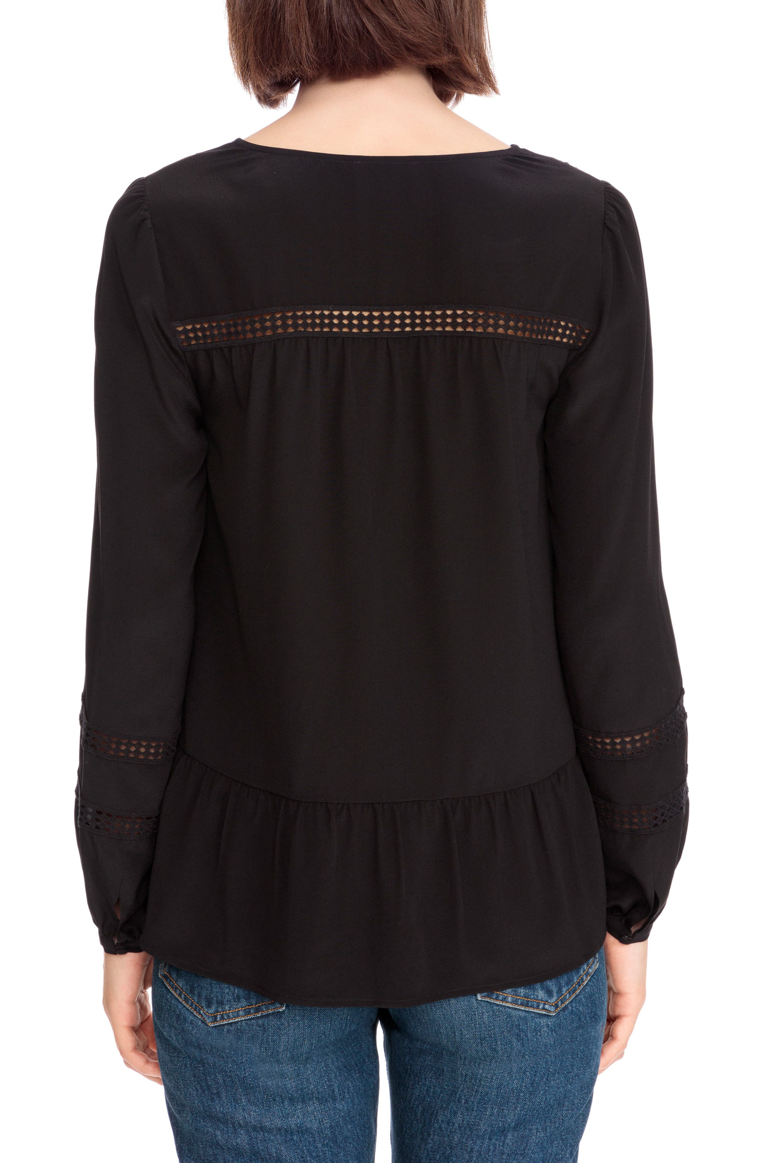 Angelina Crochet Trim Blouse,                             Alternate thumbnail 3, color,                             Black