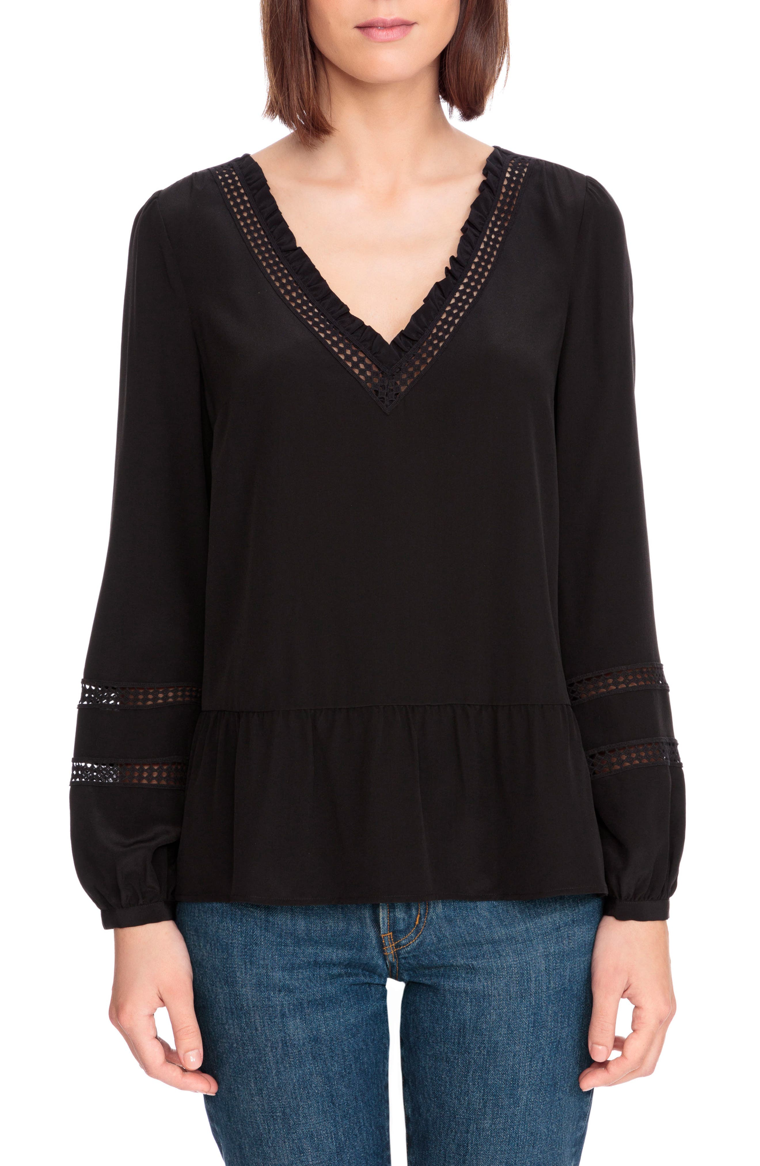 Angelina Crochet Trim Blouse,                             Main thumbnail 1, color,                             Black