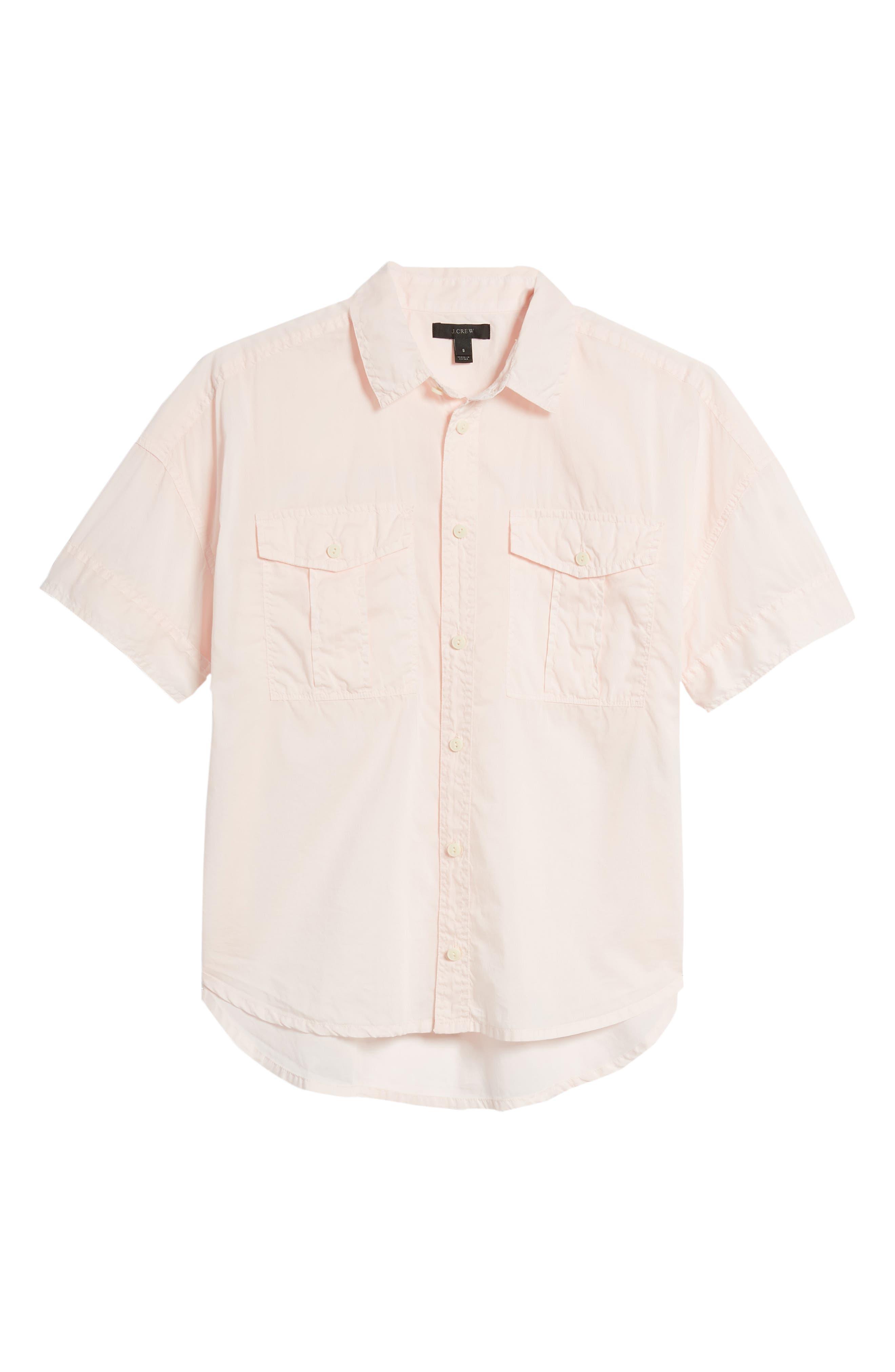 J.Crew Utility Pocket Shirt,                             Alternate thumbnail 9, color,                             Pastel Pink