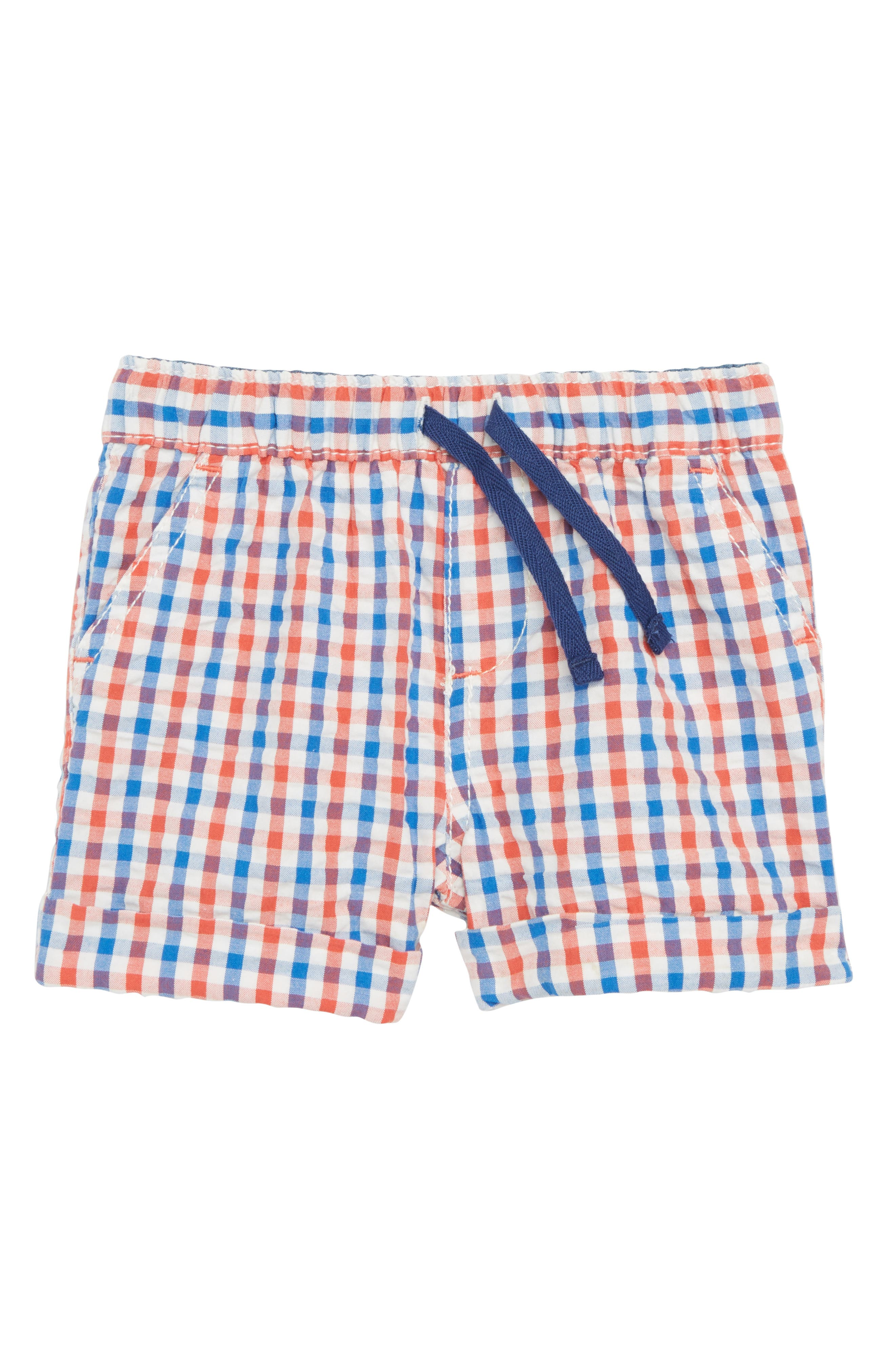 Mini Boden Explorer Gingham Shorts (Baby Boys)