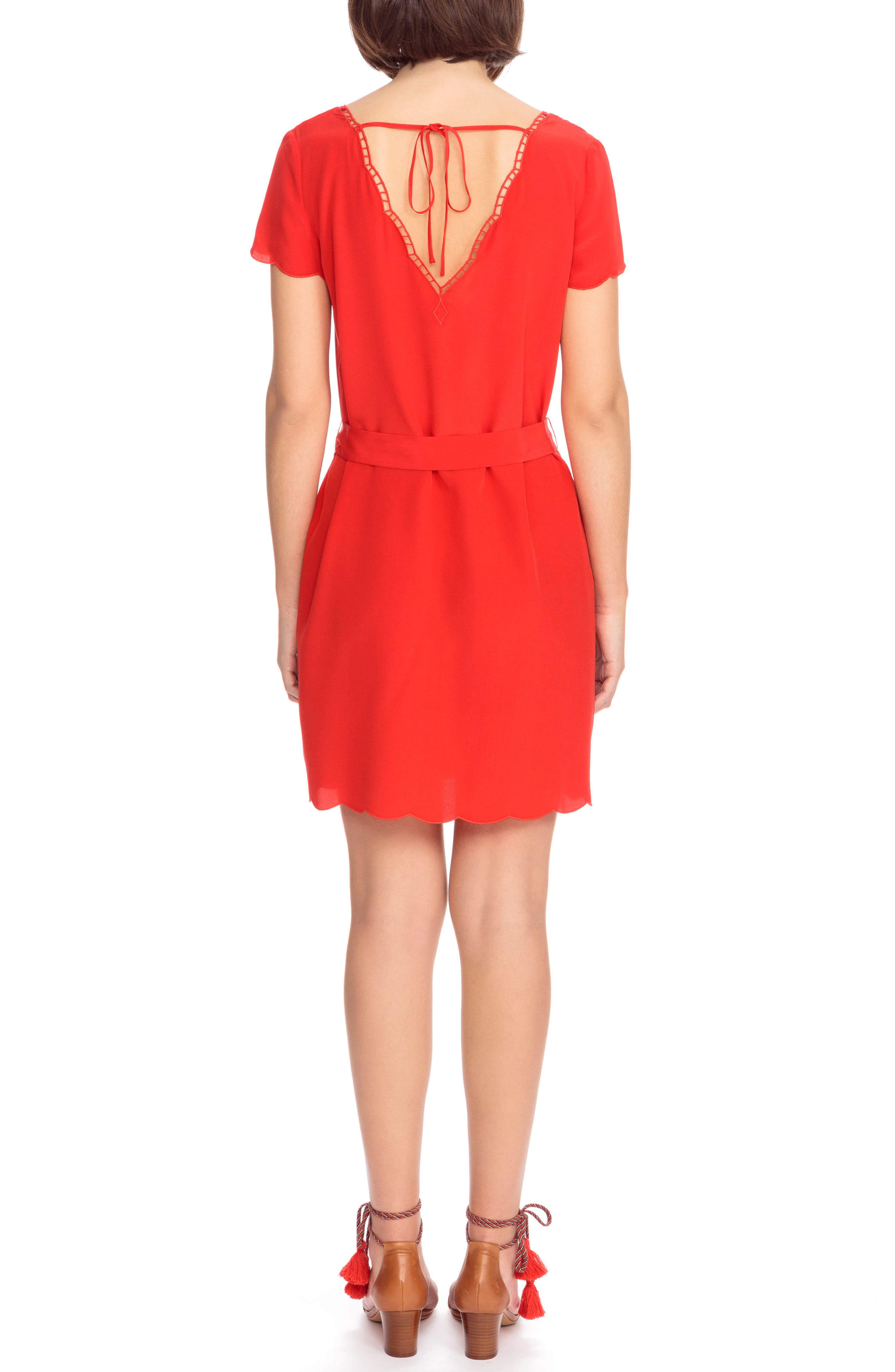 Anabella Belted Silk Dress,                             Alternate thumbnail 3, color,                             Coral Red