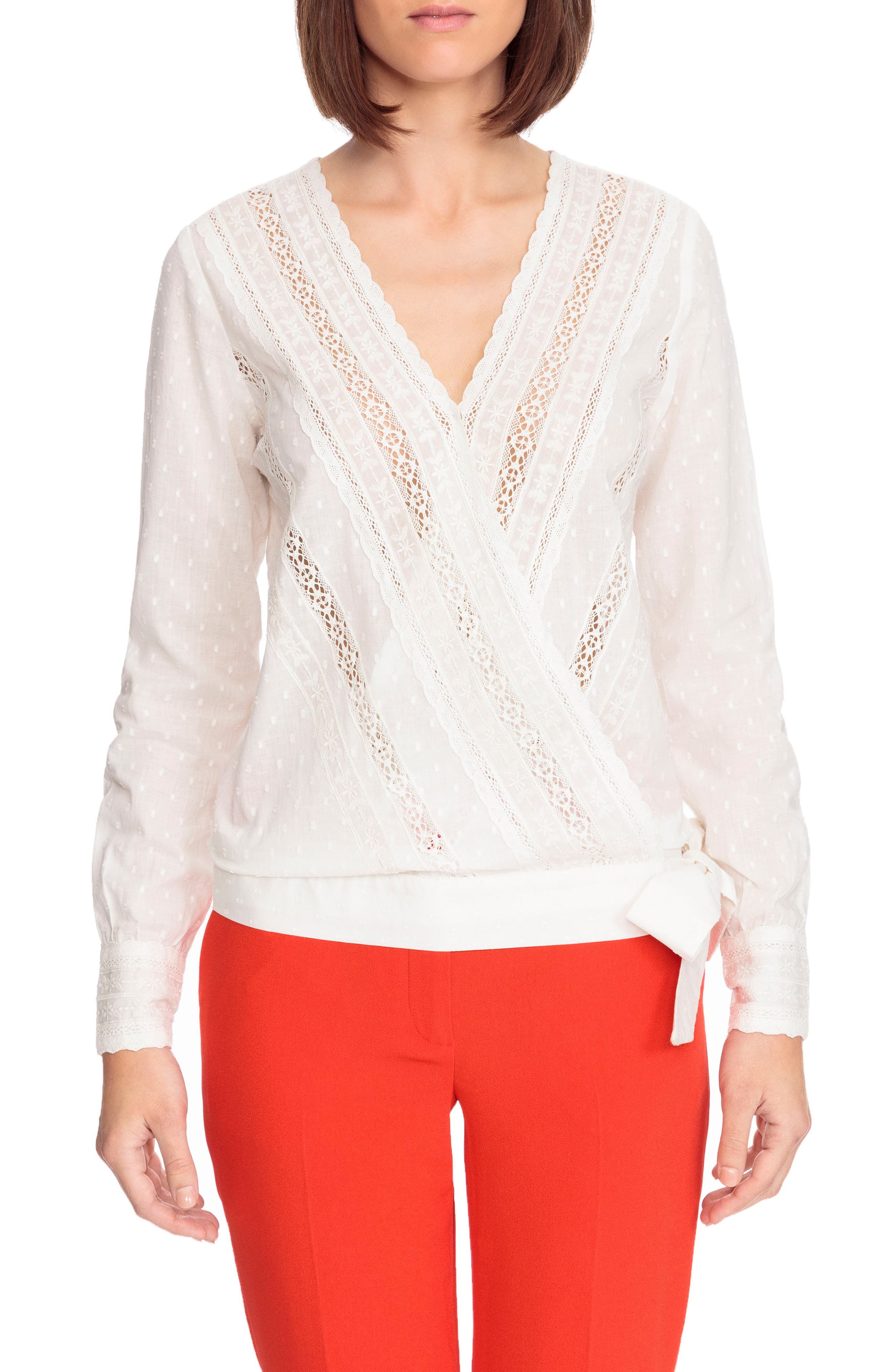 Alessandra Wrap Blouse,                         Main,                         color, Off White