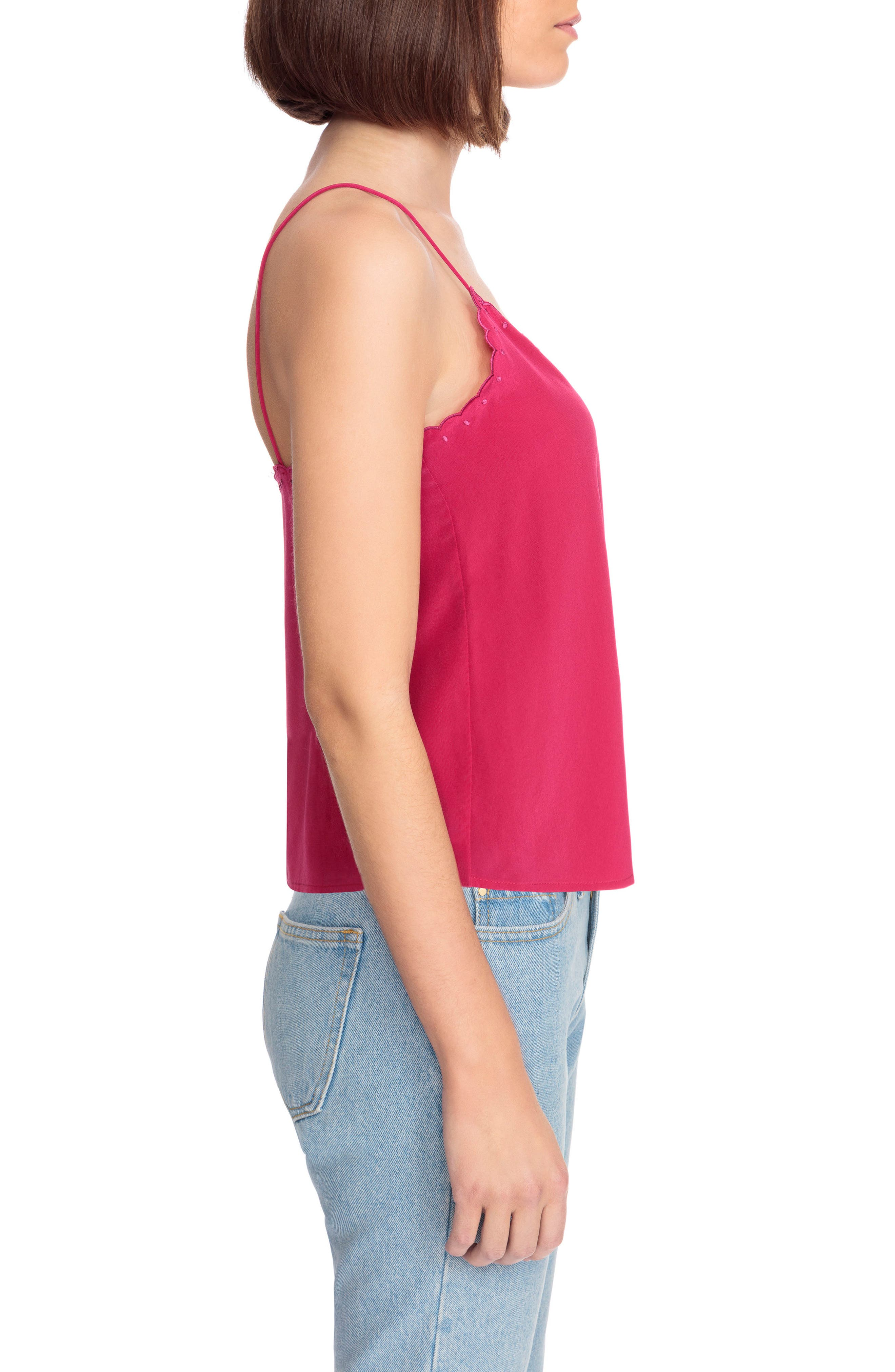 Athenee Scalloped Silk Camisole,                             Alternate thumbnail 4, color,                             Bright Pink