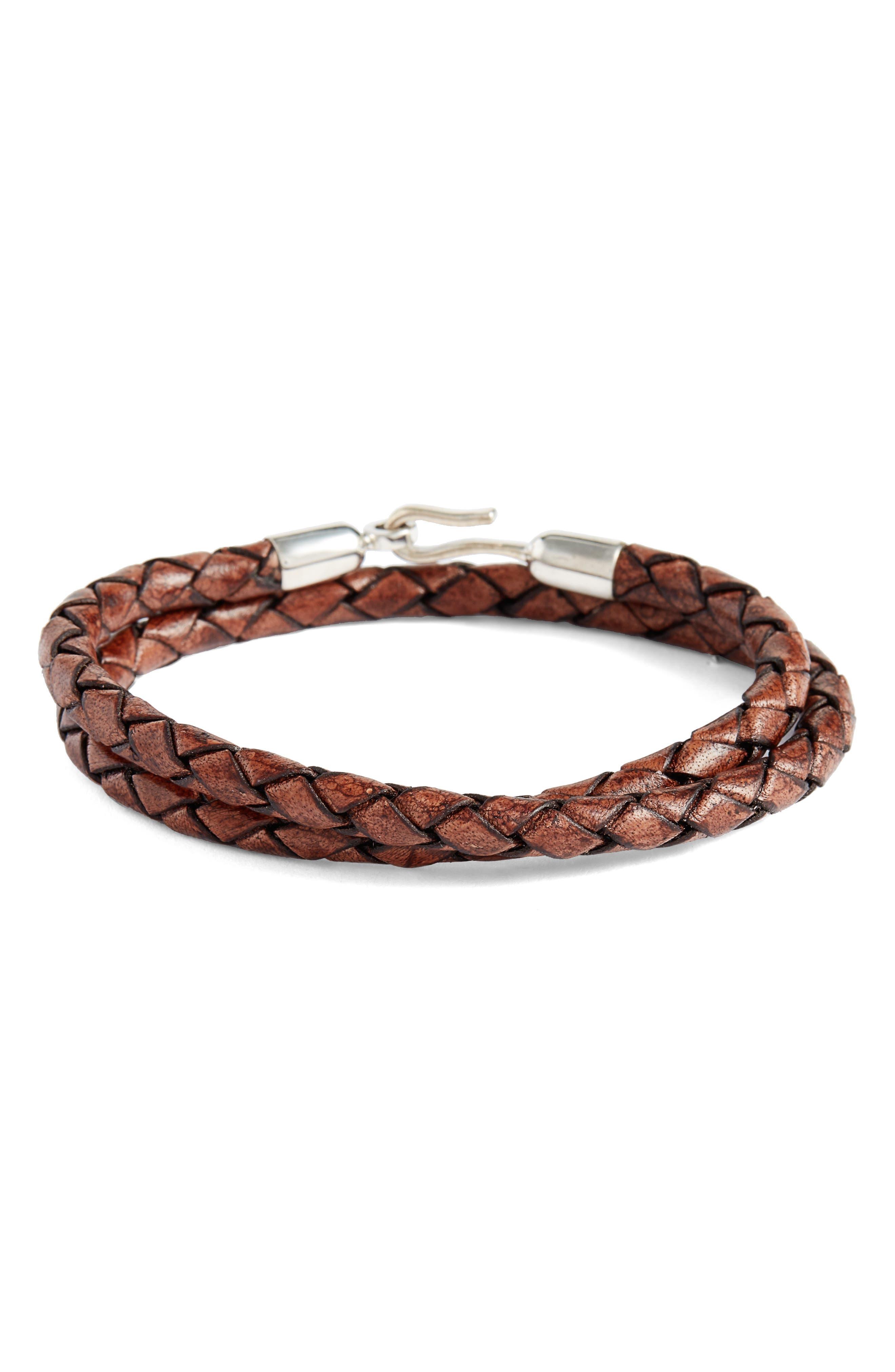 Braided Leather Wrap Bracelet,                             Main thumbnail 1, color,                             Antique Brown