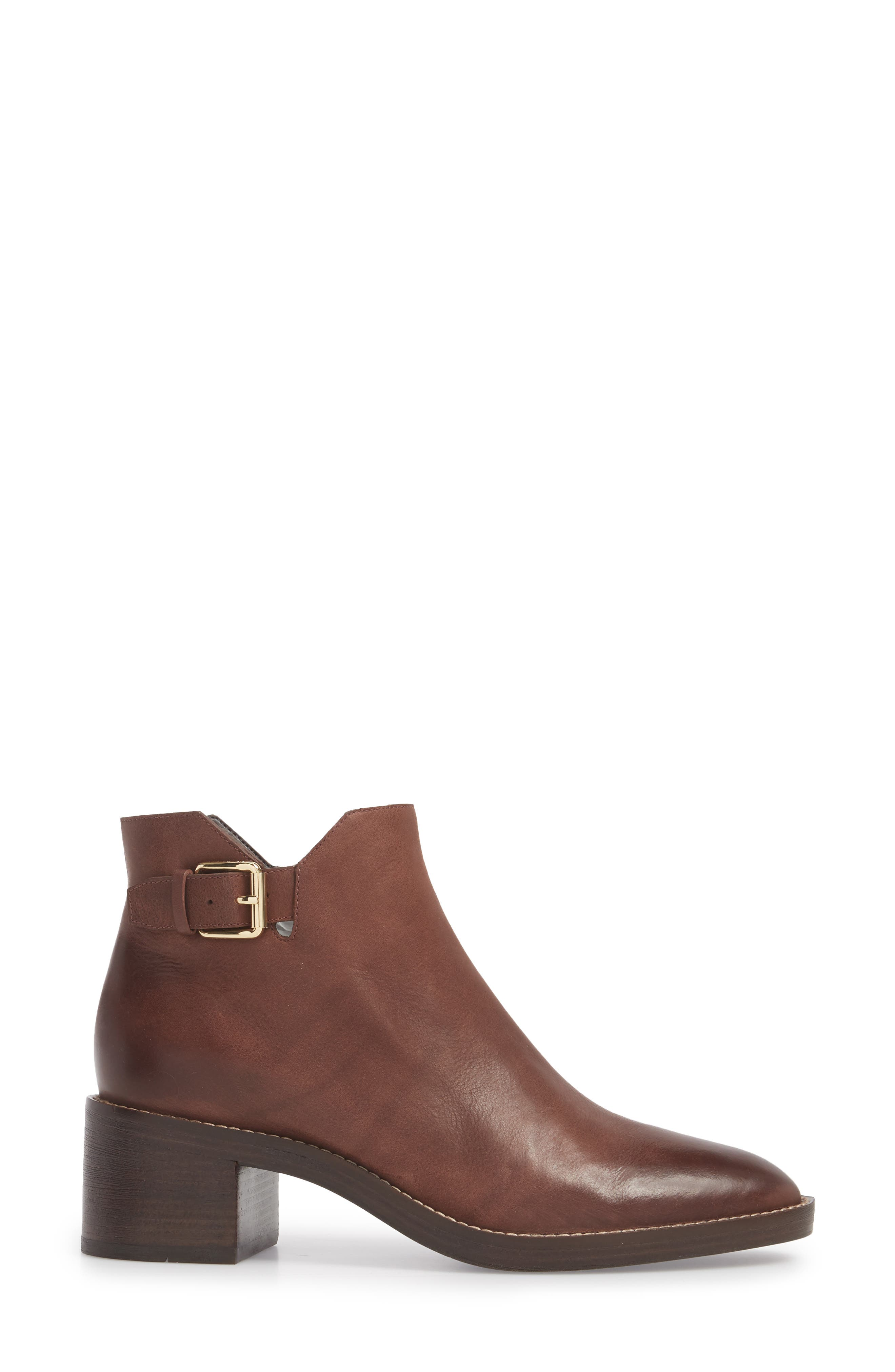 Harrington Grand Buckle Bootie,                             Alternate thumbnail 3, color,                             Chocolate Leather