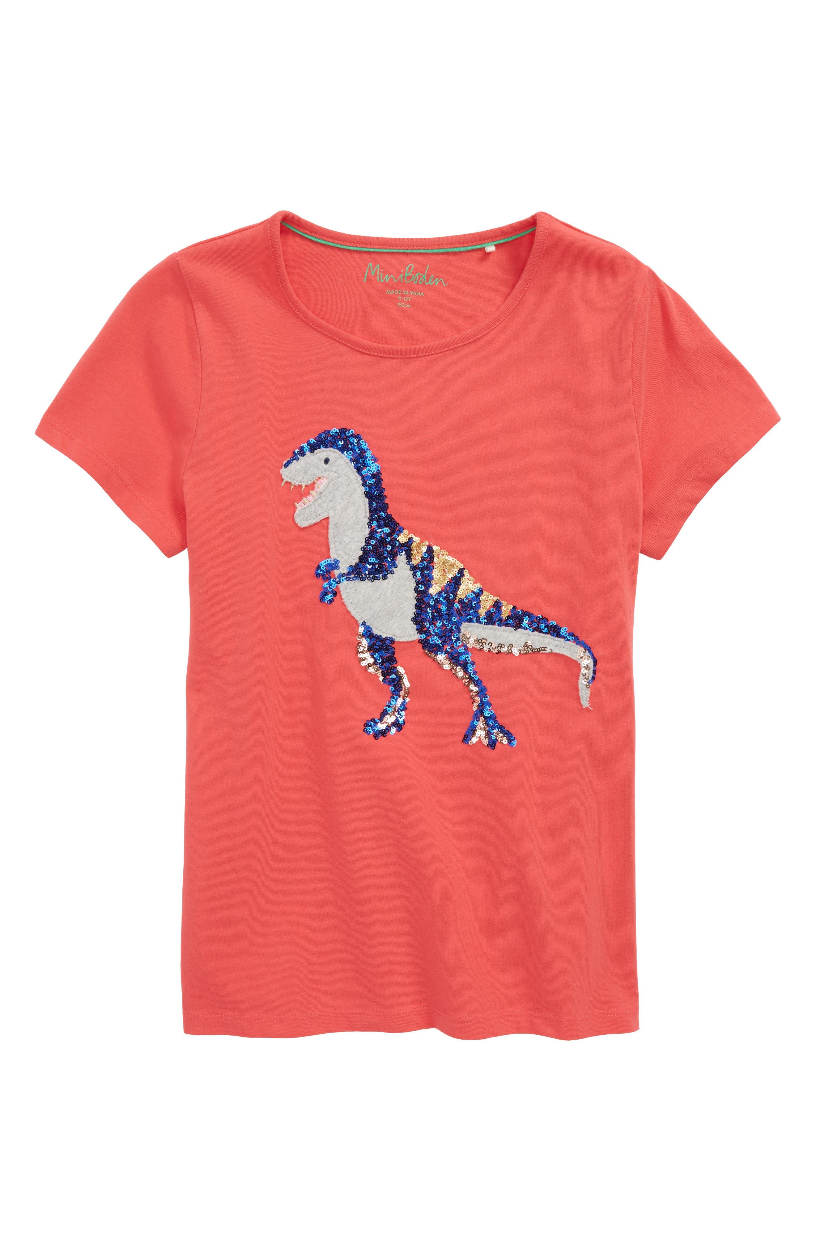 Mini Boden Dinosaur Sequin Embellished Tee (Toddler Girls, Little Girls & Big Girls)