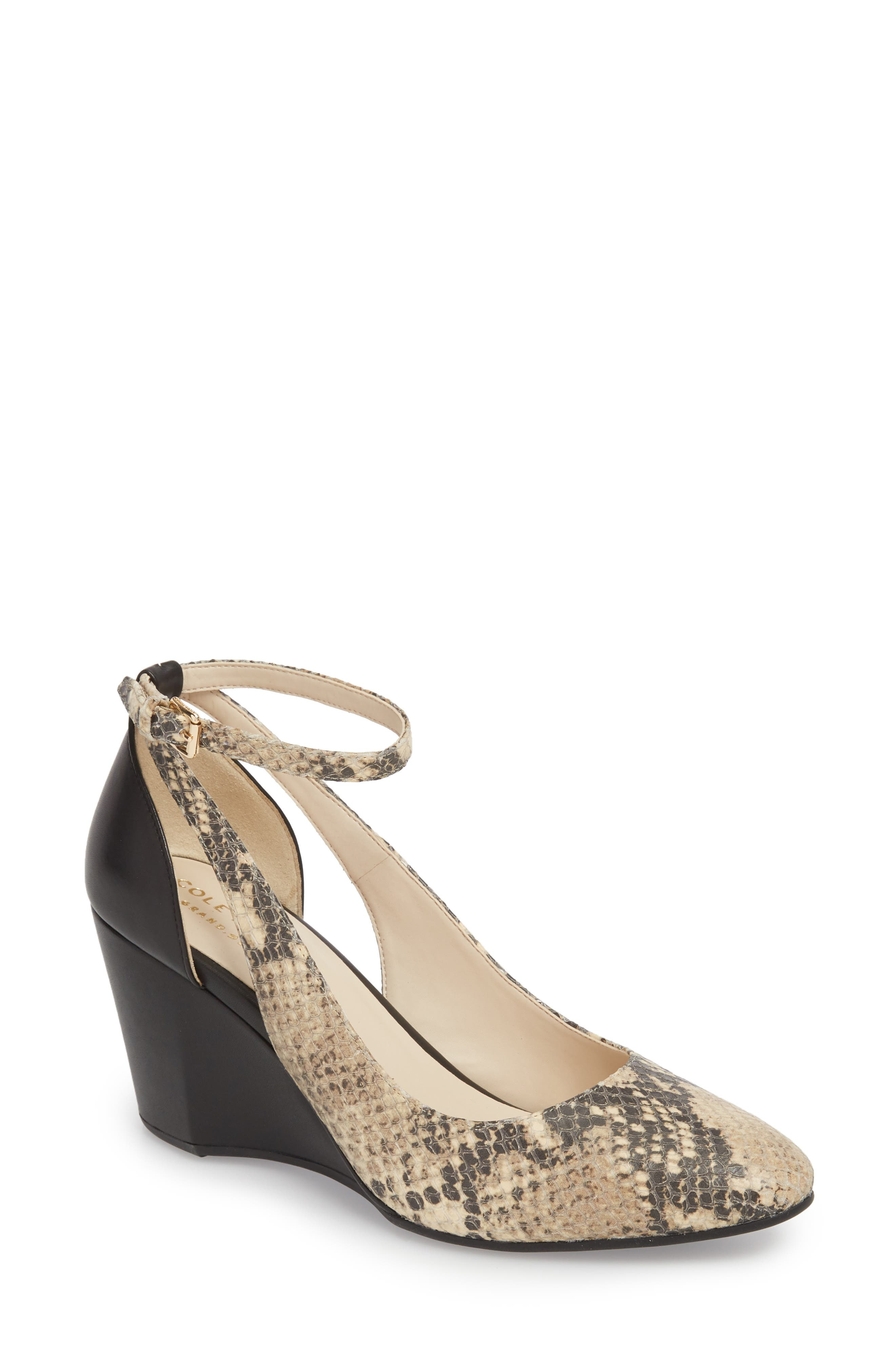Lacey Cutout Wedge Pump in Snake Print Leather