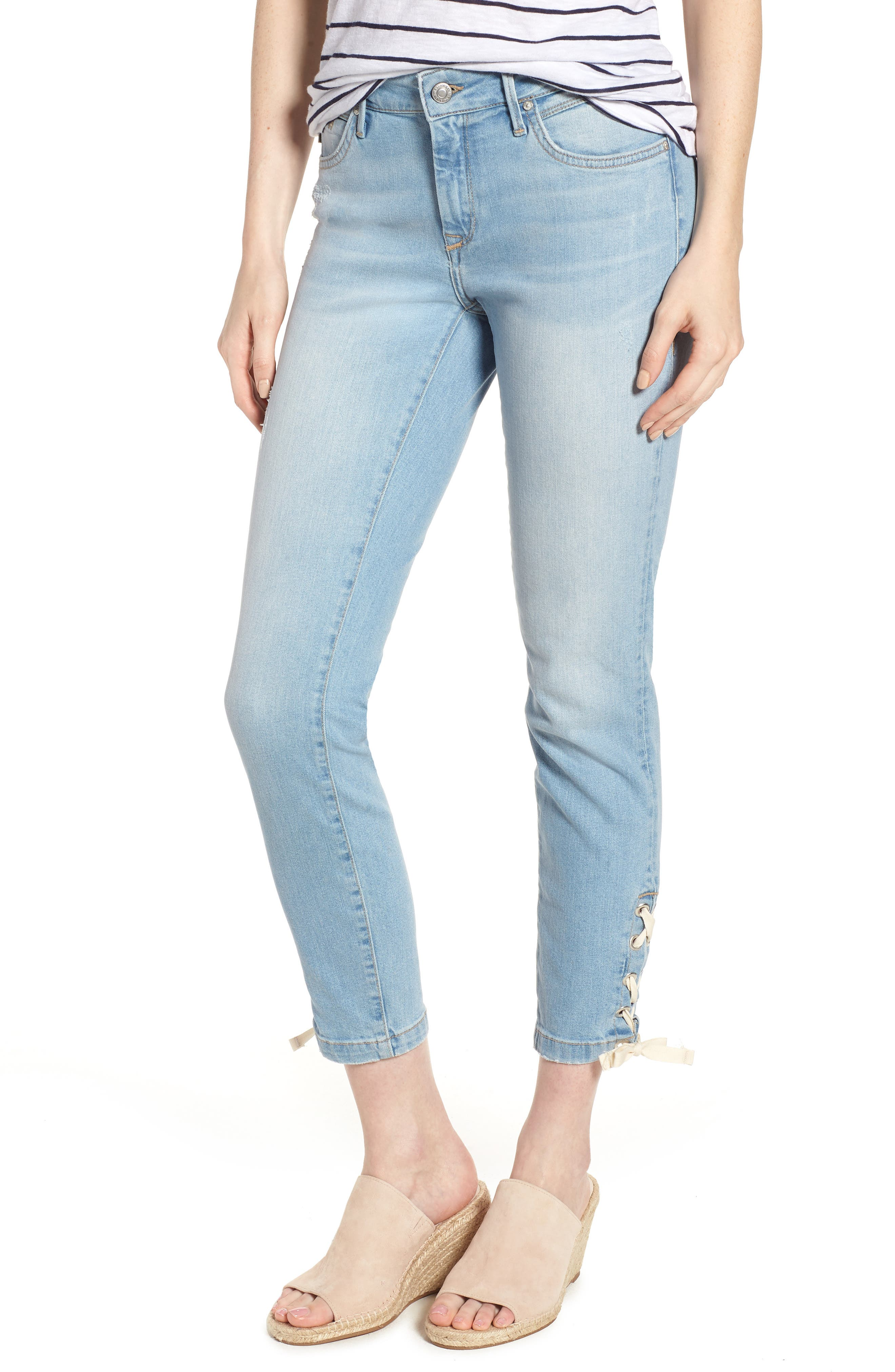 Adriana Laced Ankle Skinny Jeans,                             Main thumbnail 1, color,                             Bleach Summer Lace