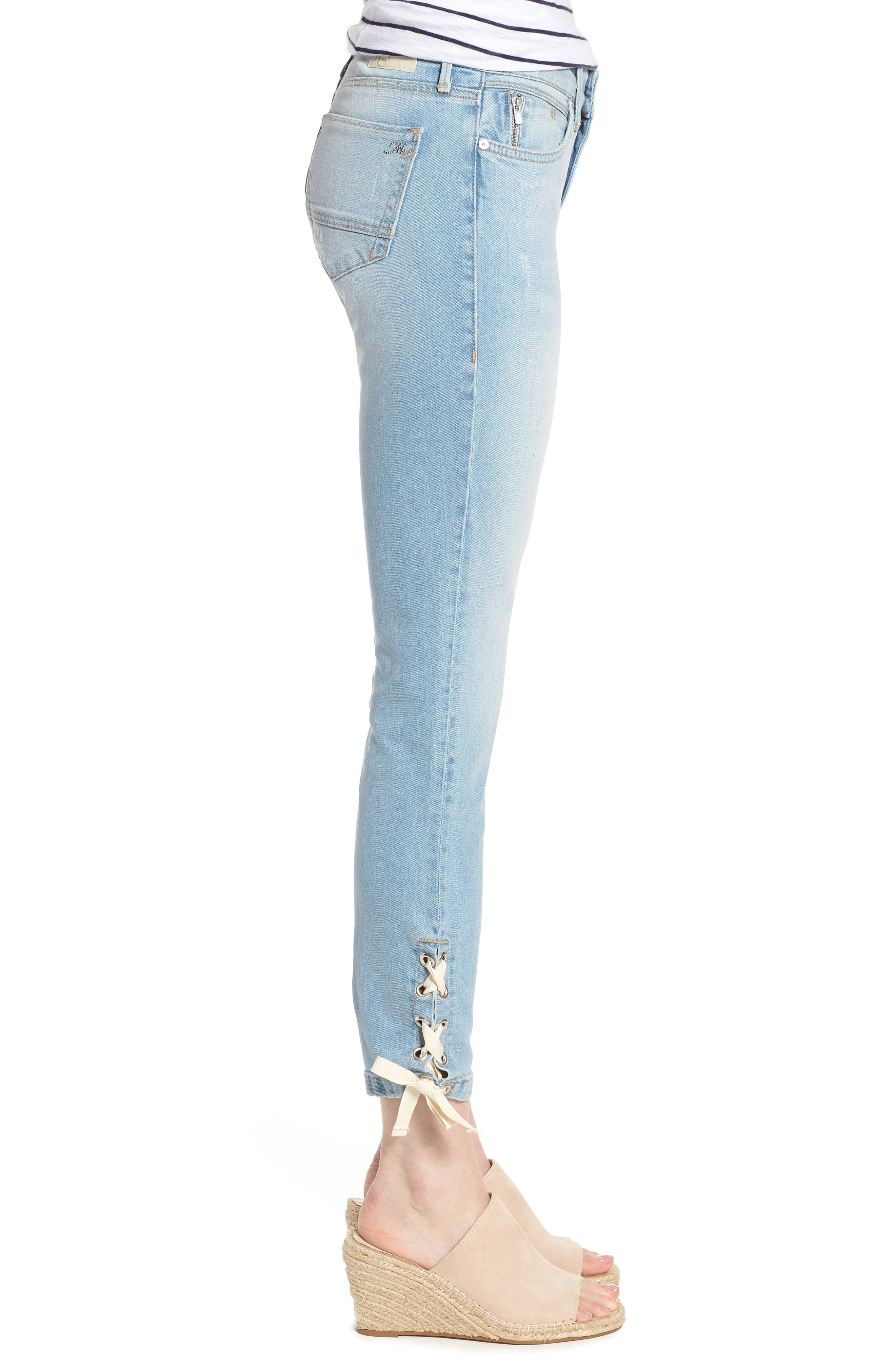 Adriana Laced Ankle Skinny Jeans,                             Alternate thumbnail 3, color,                             Bleach Summer Lace