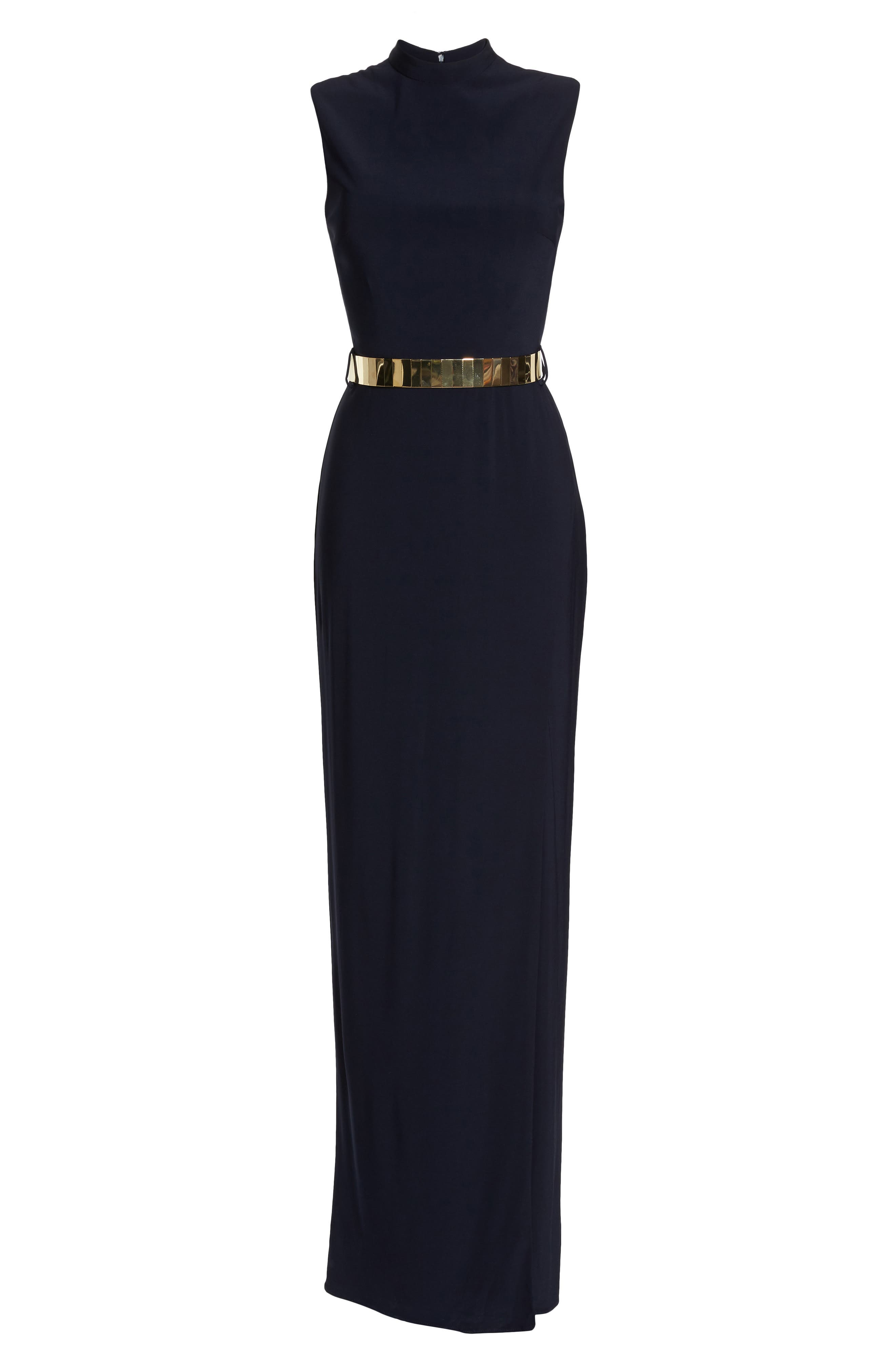 Belted Mock Neck Sheath Gown,                             Alternate thumbnail 6, color,                             Midnight