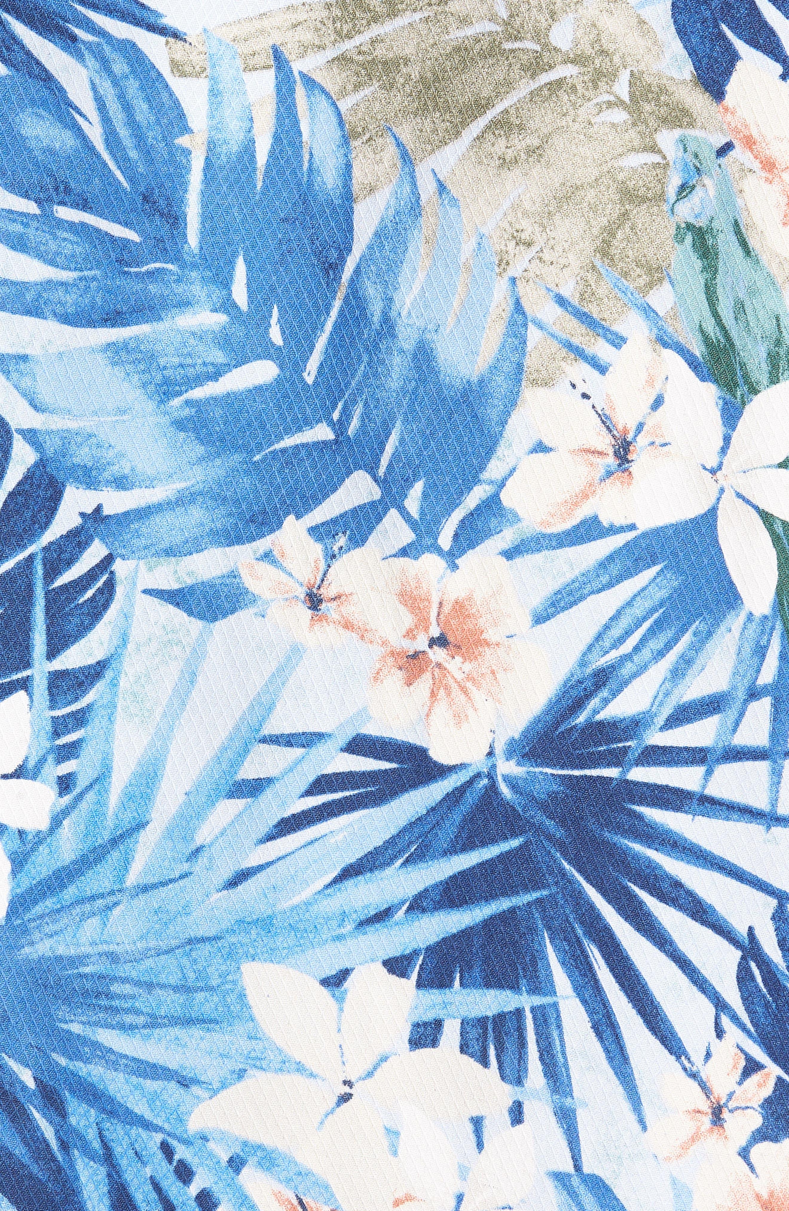 Marino Paradise Silk Camp Shirt,                             Alternate thumbnail 5, color,                             Sky Blue