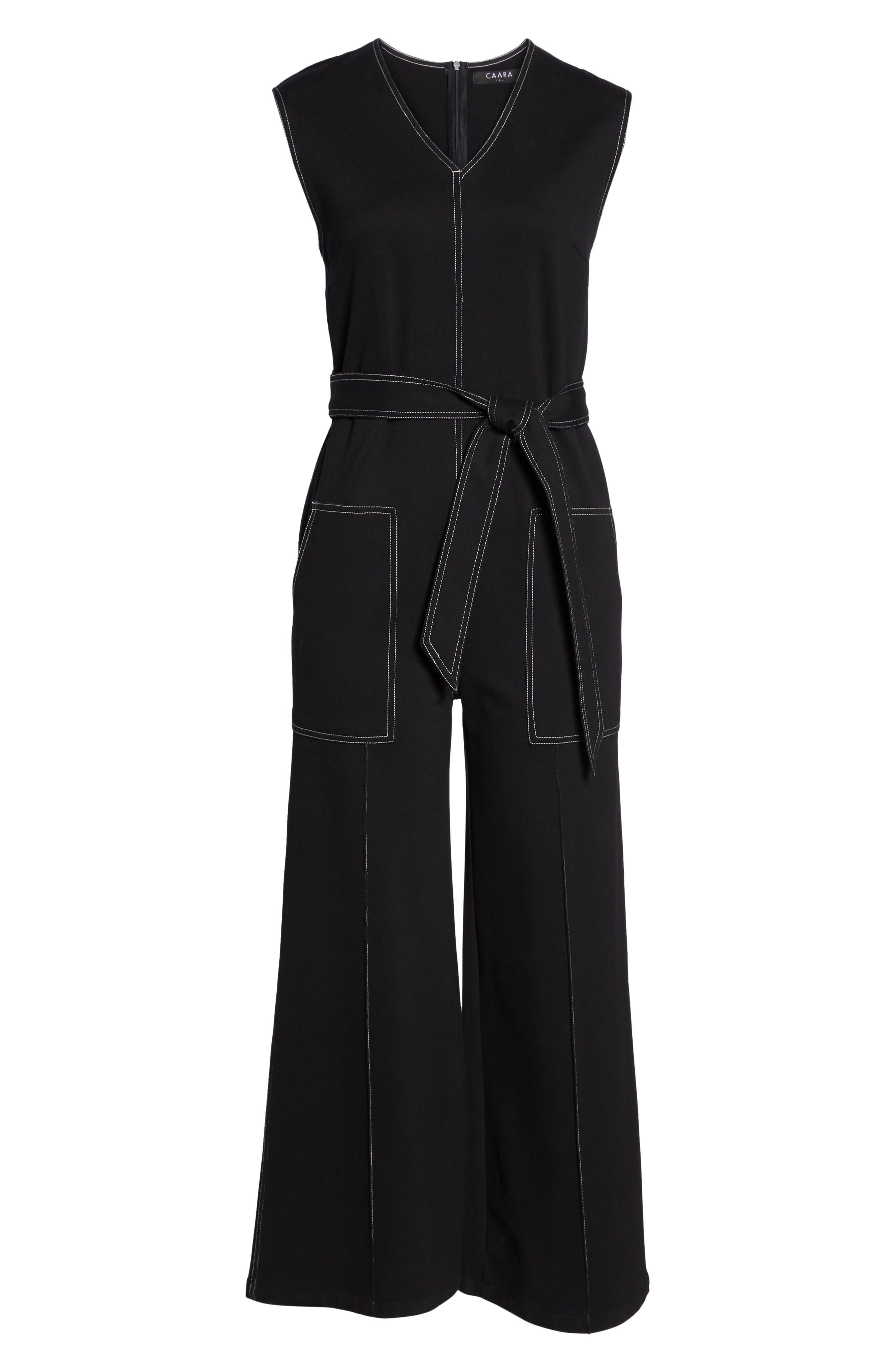 Playdate Stretch Knit Jumpsuit,                             Alternate thumbnail 6, color,                             Black