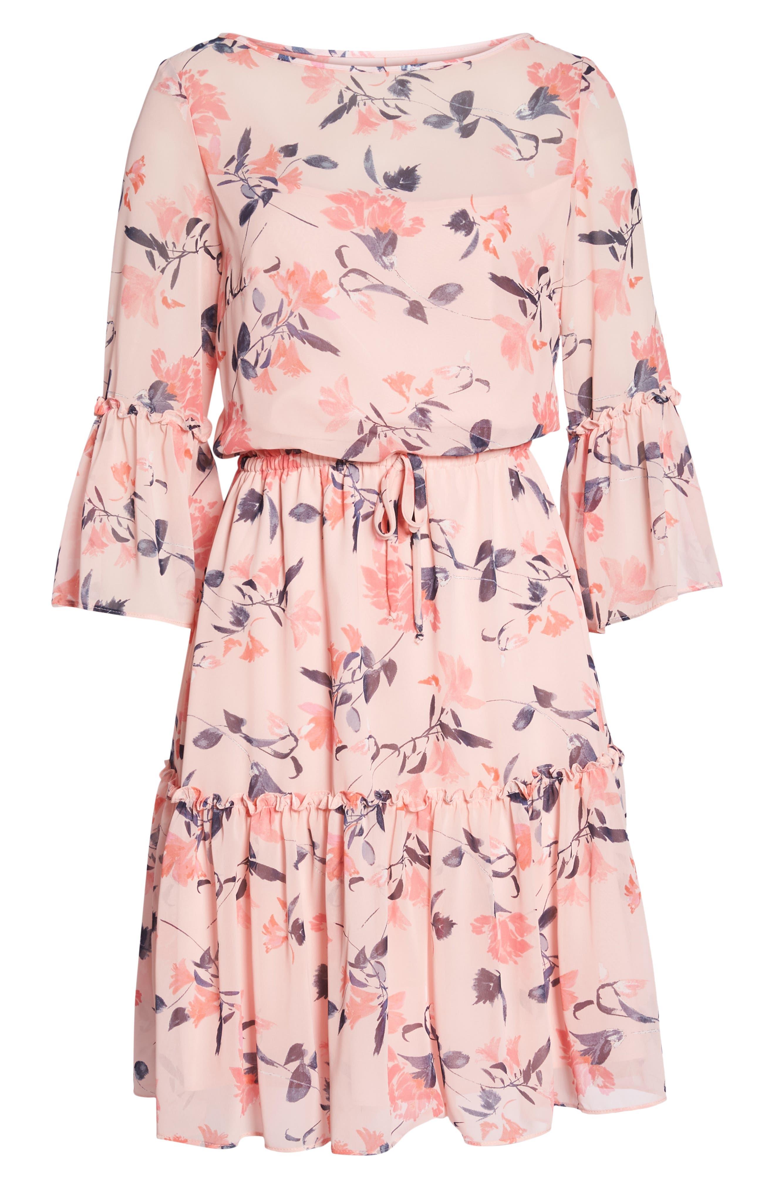 Floral Bell Sleeve Chiffon Dress,                             Alternate thumbnail 7, color,                             Blush