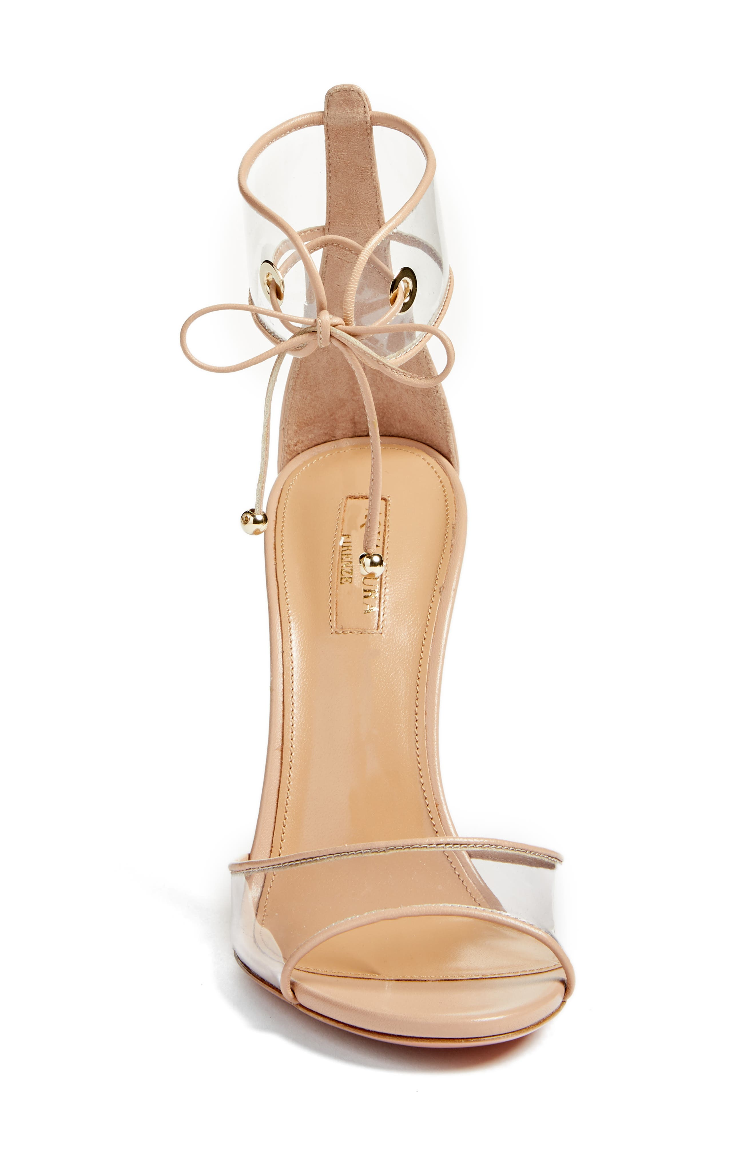 Optic Clear Ankle Tie Sandal,                             Alternate thumbnail 4, color,                             Powder Pink