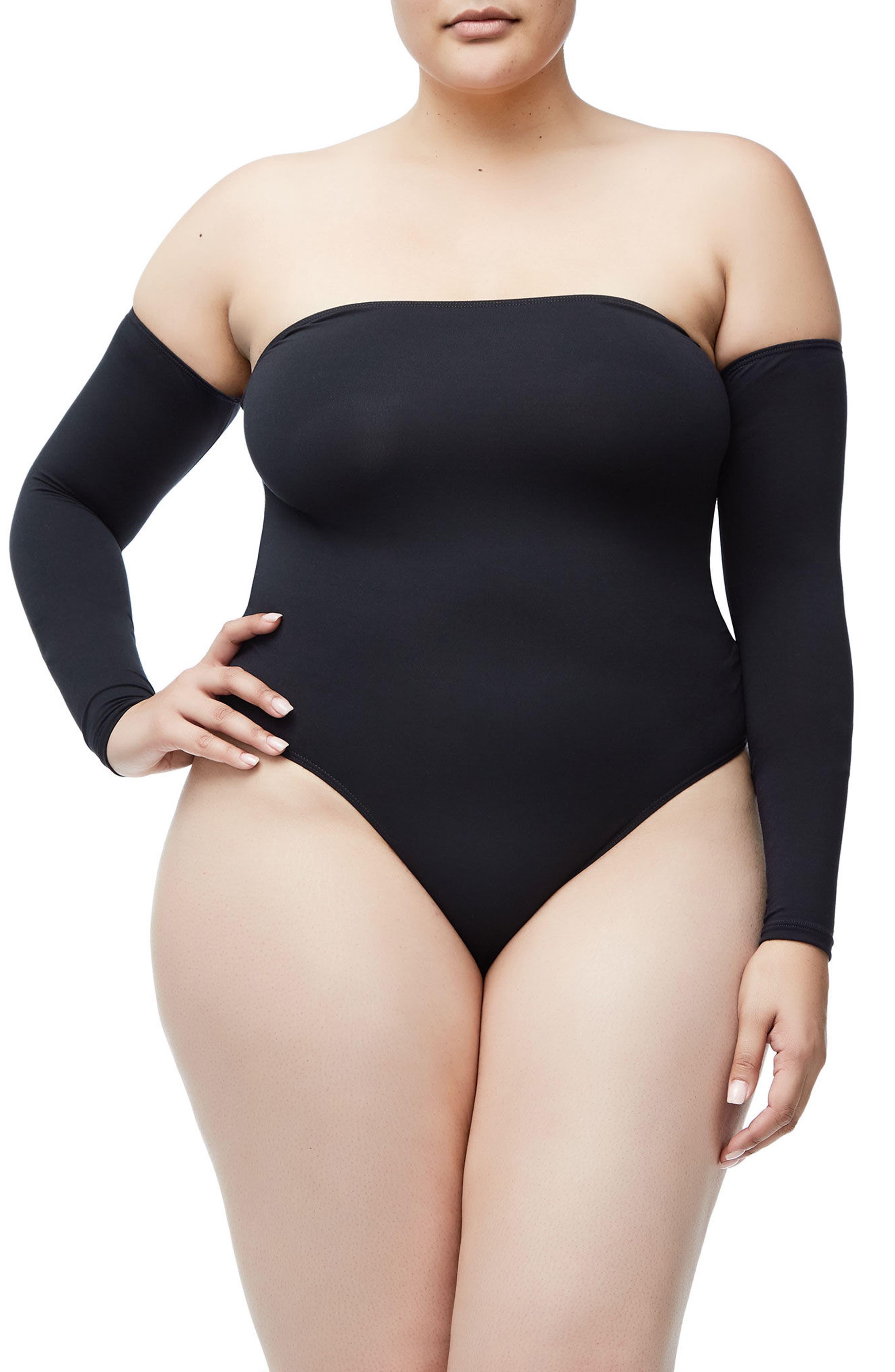 Good Body Sporty Off the Shoulder Thong Bodysuit,                             Alternate thumbnail 7, color,                             Black001