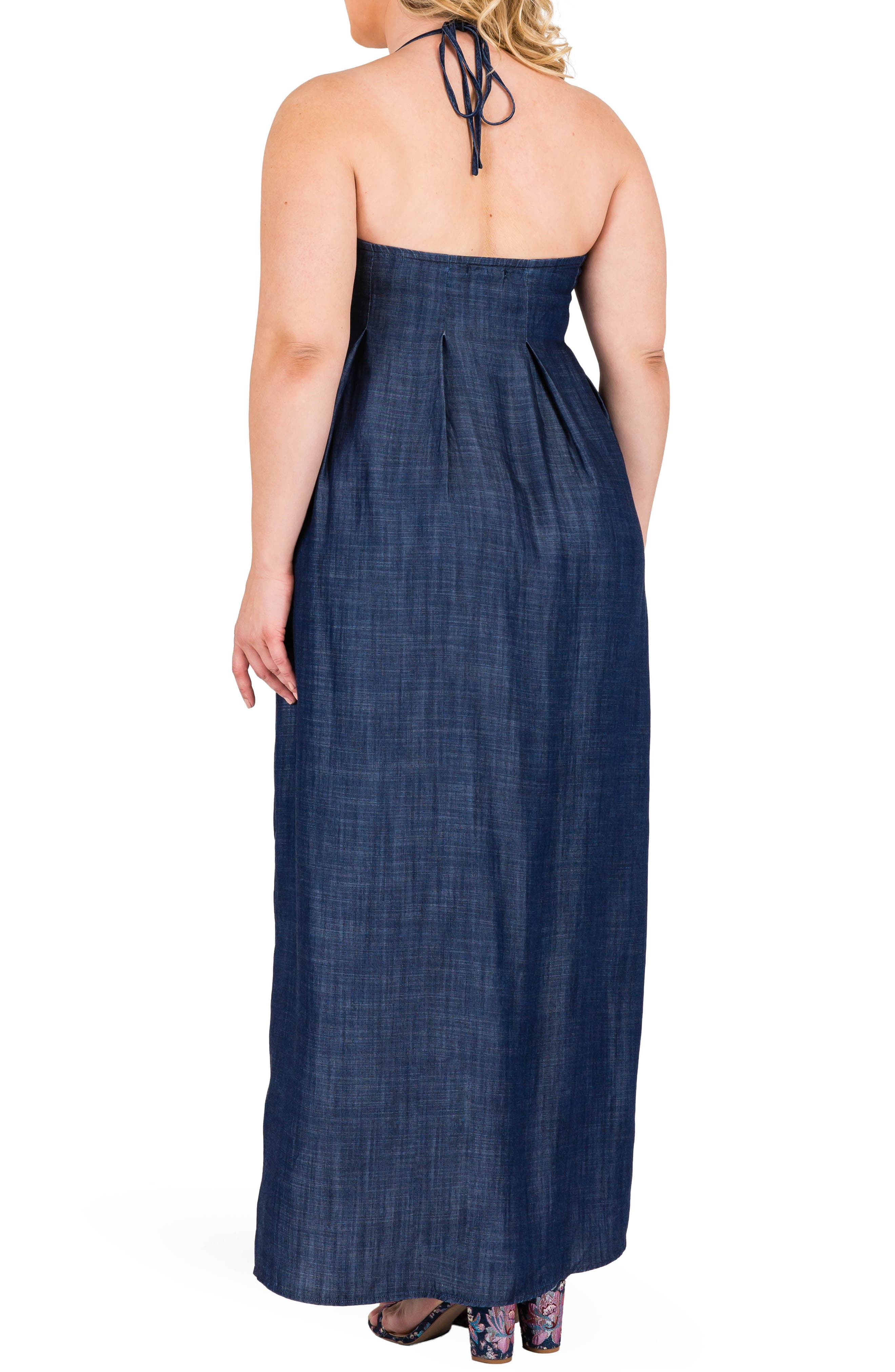 Maui Maxi Chambray Halter Dress,                             Alternate thumbnail 2, color,                             Dark Blue