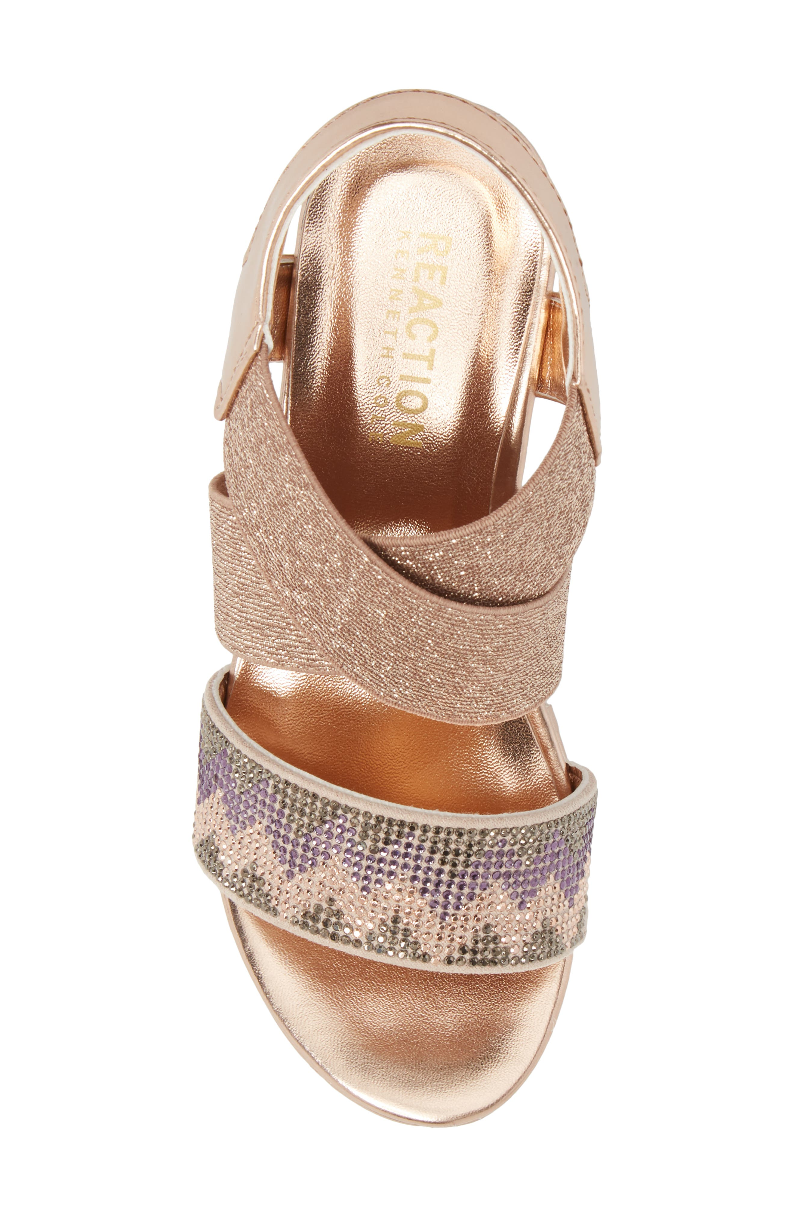 Reaction Kenneth Cole Reed Mamba Embellished Wedge Sandal,                             Alternate thumbnail 5, color,                             Rose Metallic