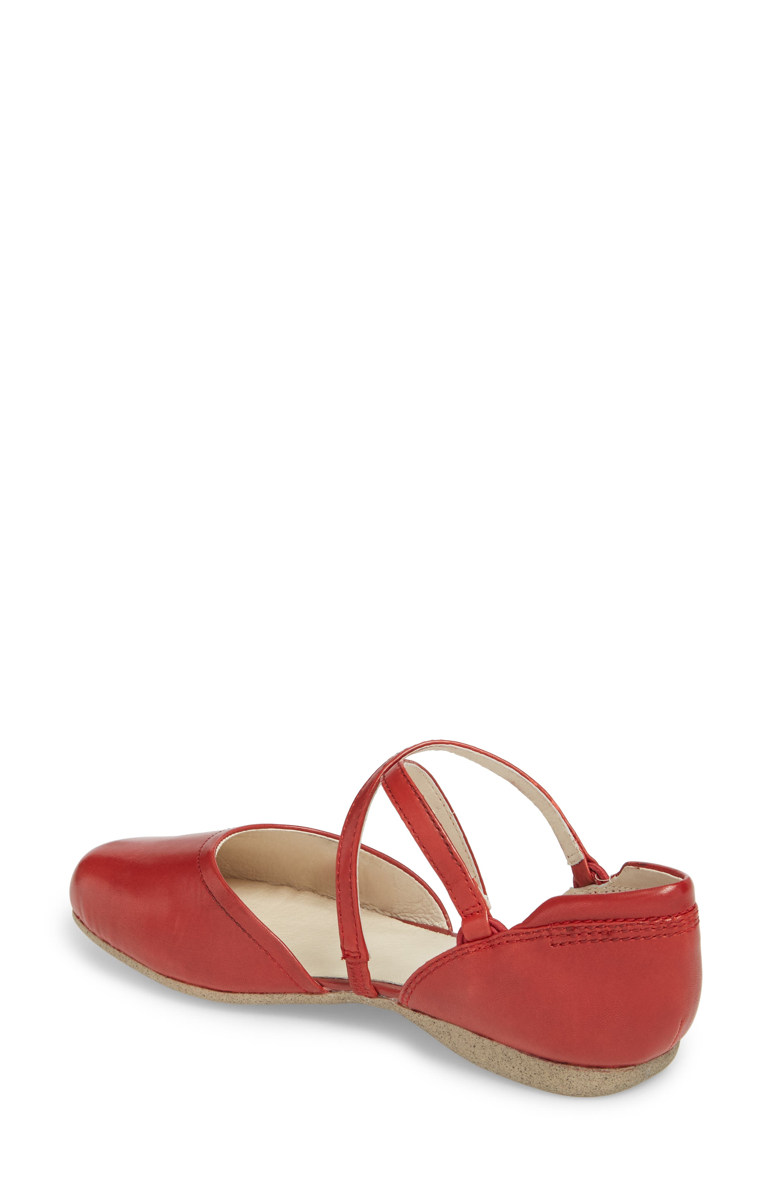 Fiona 41 Flat,                             Alternate thumbnail 2, color,                             Red Leather