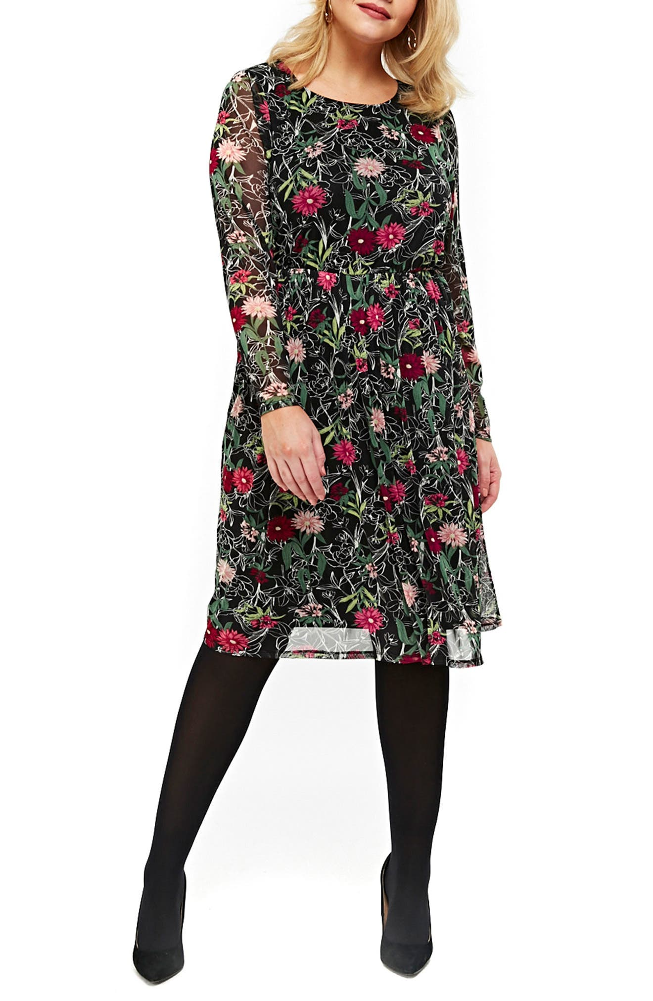 Floral Print Mesh Fit & Flare Dress,                         Main,                         color, Multi Dark