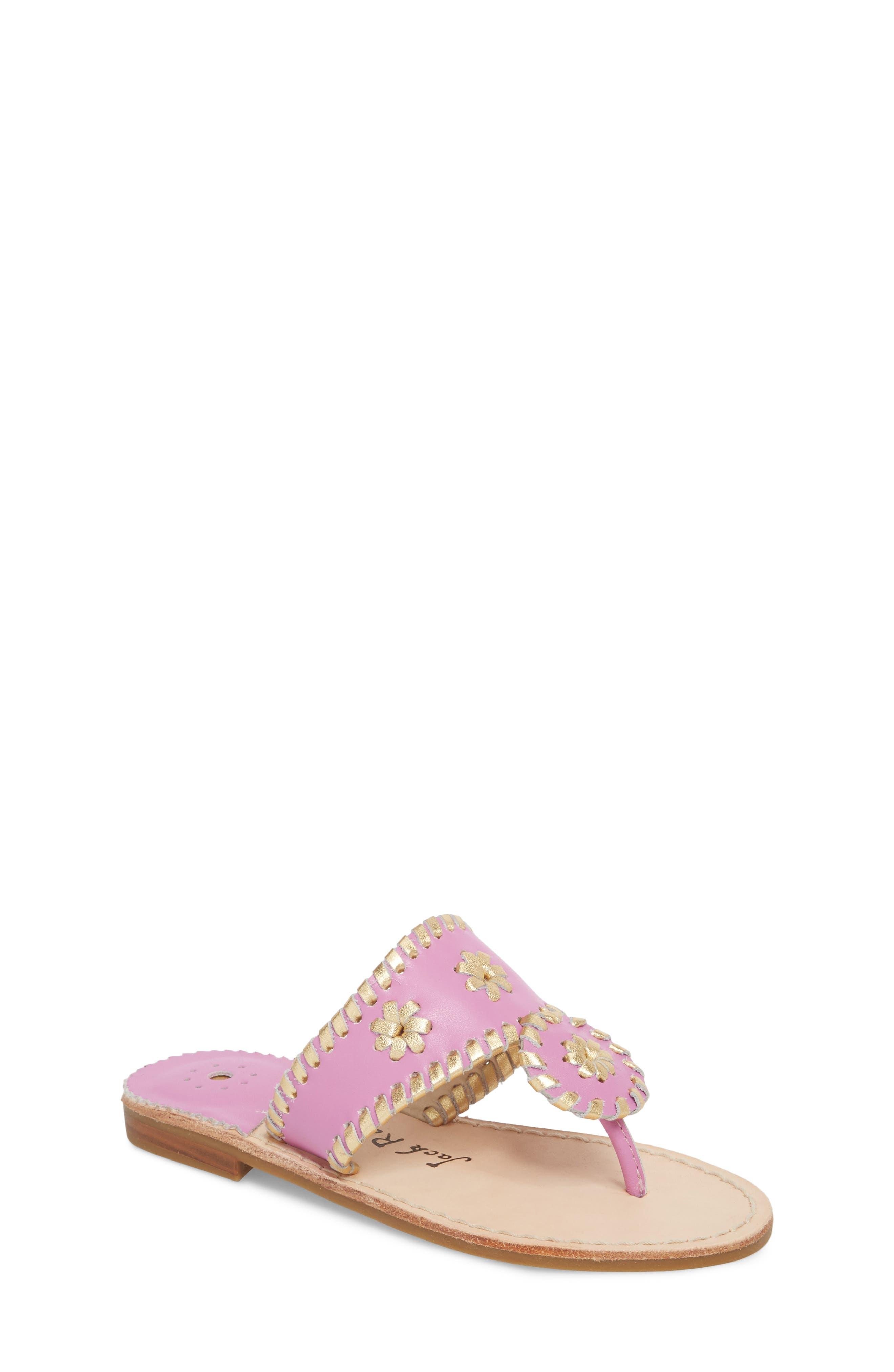 Miss Hollis Metallic Trim Thong Sandal,                             Main thumbnail 1, color,                             Lavender Pink/ Gold Leather