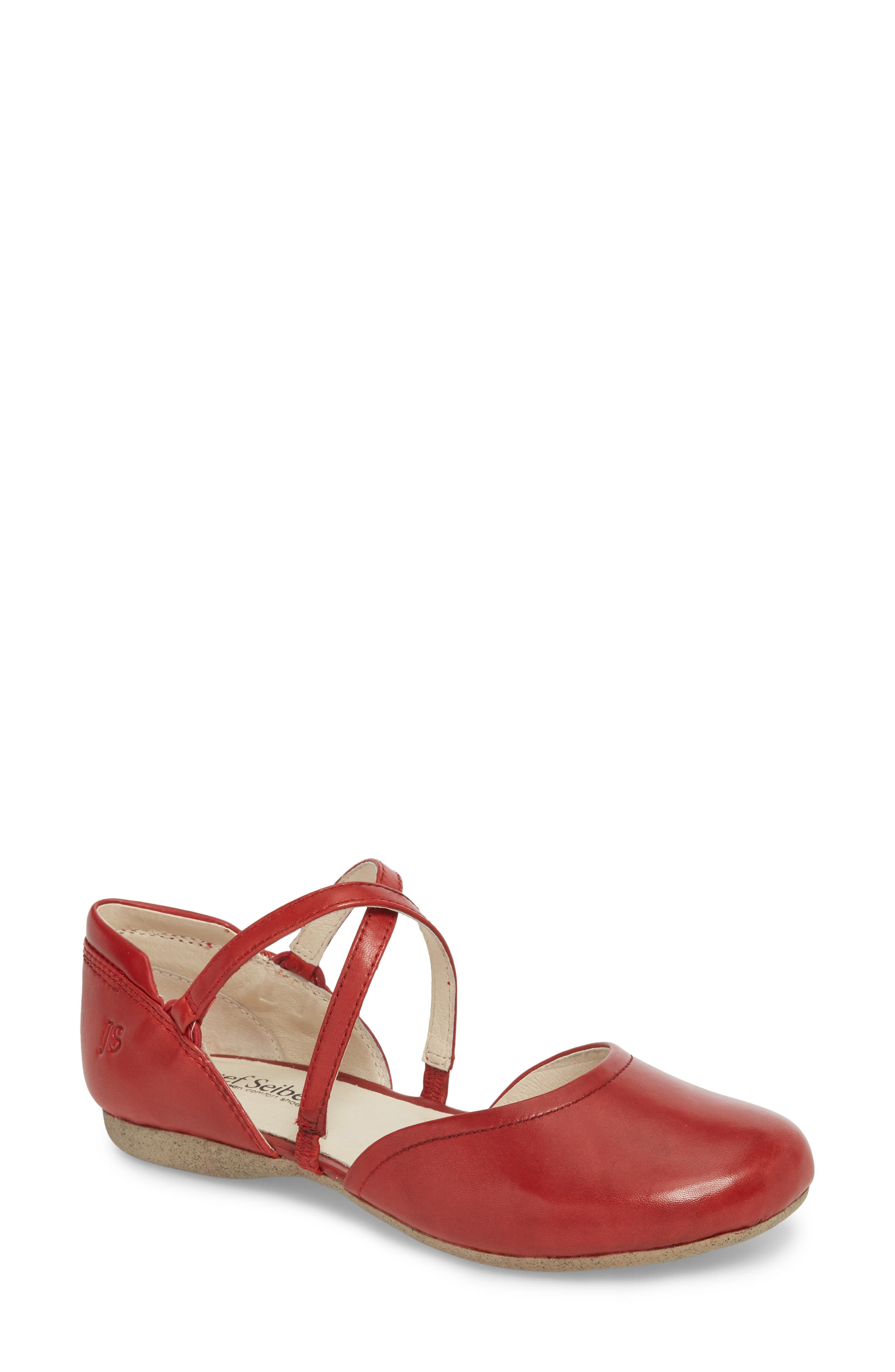 Fiona 41 Flat,                             Main thumbnail 1, color,                             Red Leather