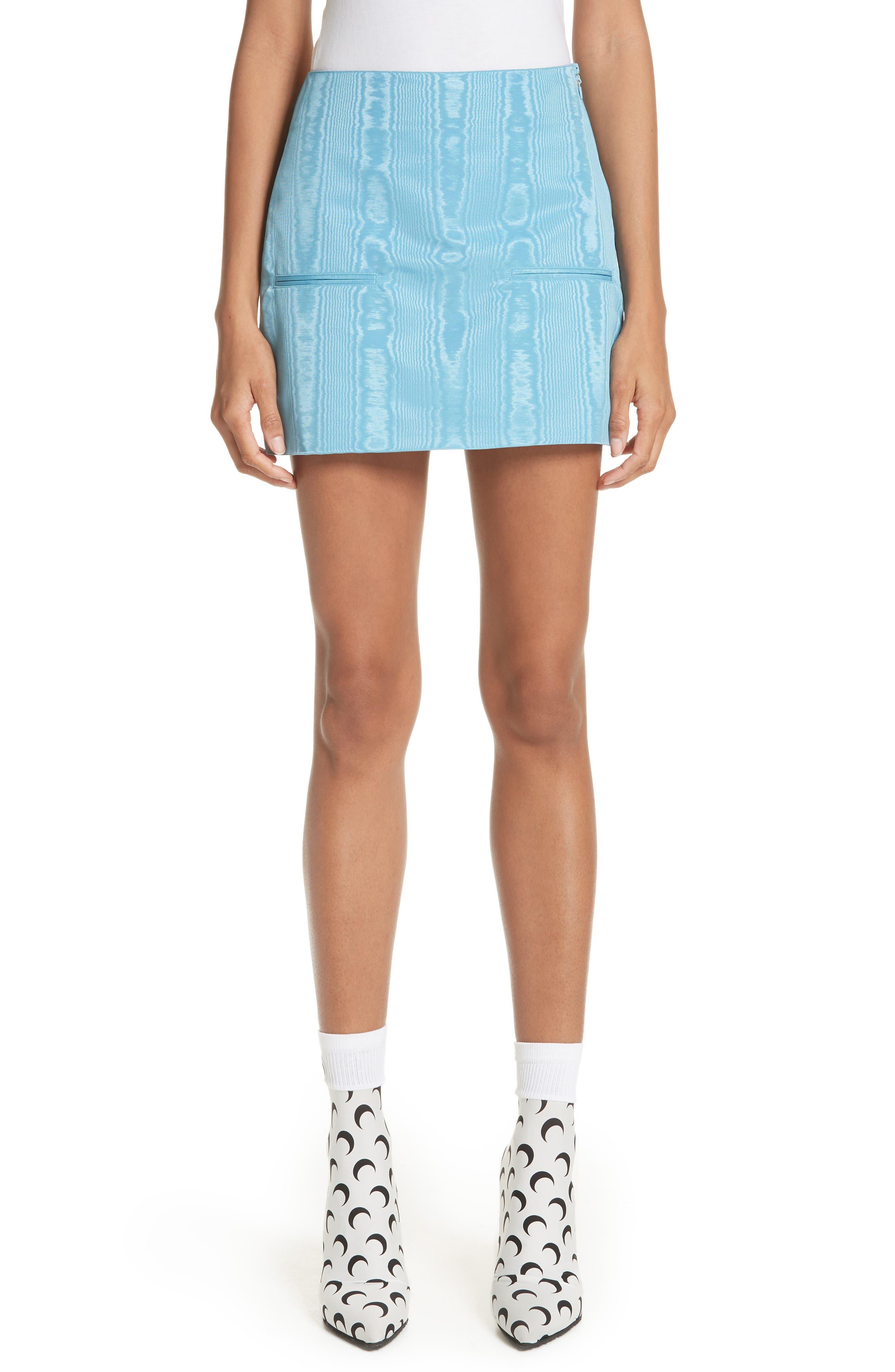 Moiré Miniskirt,                         Main,                         color, Blue