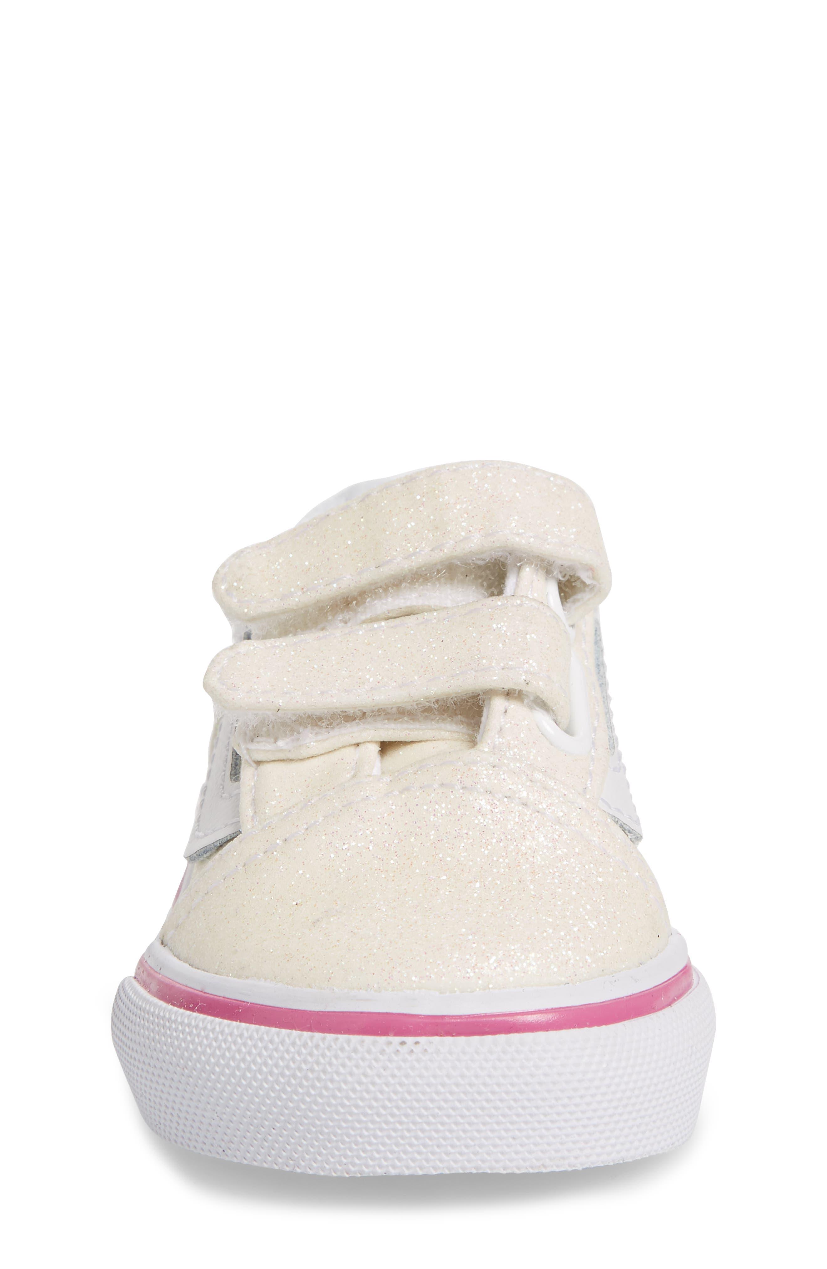 Old Skool V Glitter Sneaker,                             Alternate thumbnail 4, color,                             Rainbow White Glitter