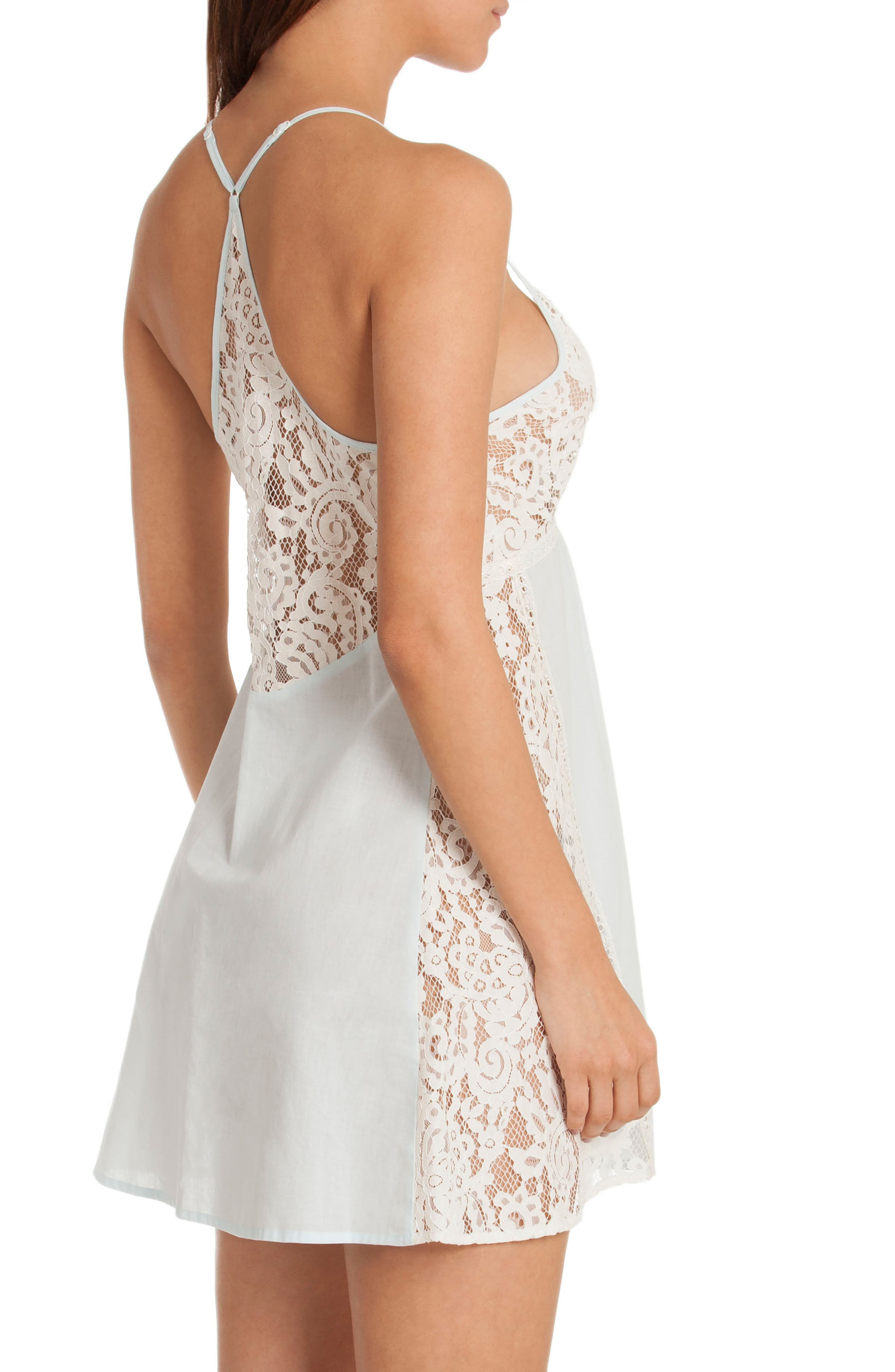 Lace Chemise,                             Alternate thumbnail 2, color,                             Skyfall/ Beige