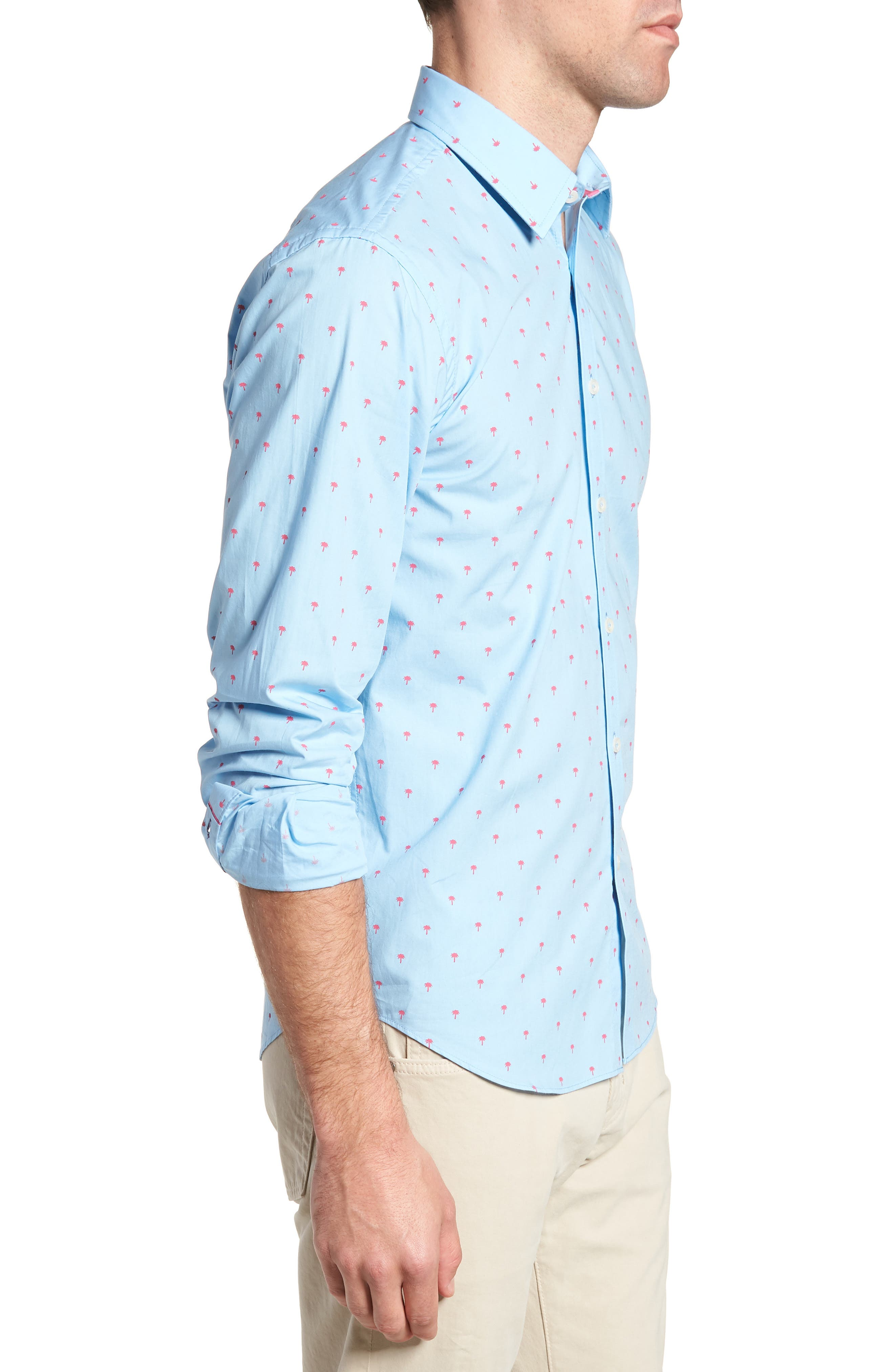 Slim Fit Palm Print Sport Shirt,                             Alternate thumbnail 4, color,                             Light Blue