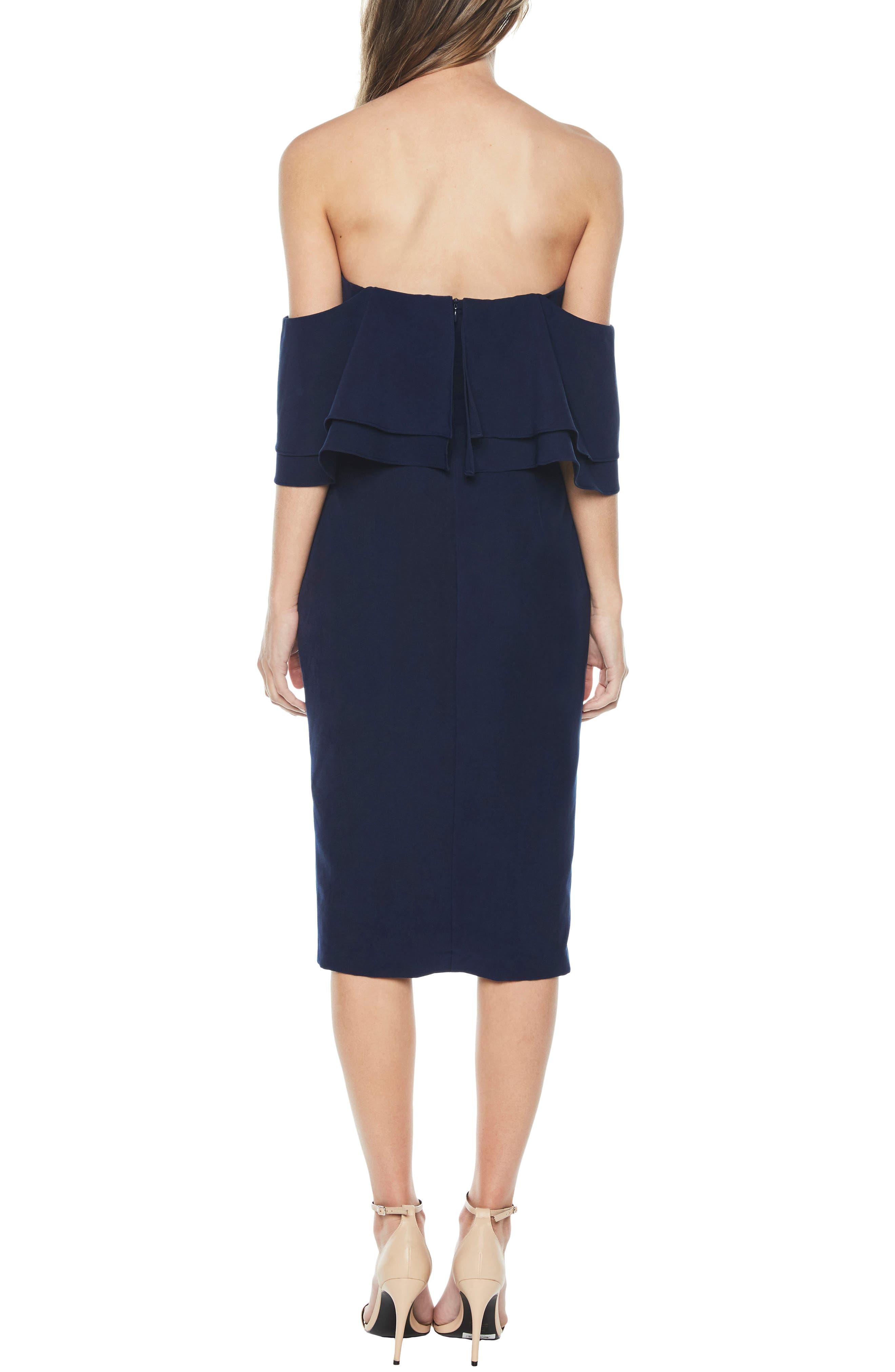 Band Ruffle Off the Shoulder Dress,                             Alternate thumbnail 3, color,                             Navy