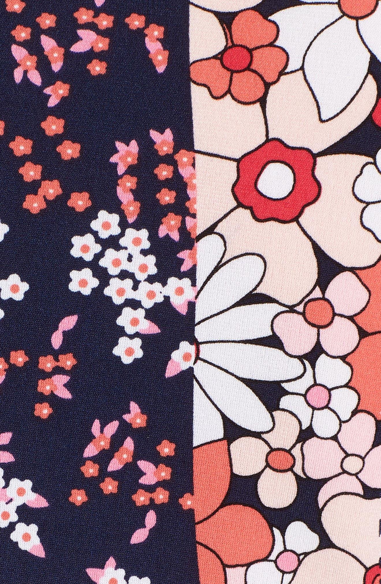 Patch Flower Flounce Dress,                             Alternate thumbnail 3, color,                             True Navy/ Bright Blush