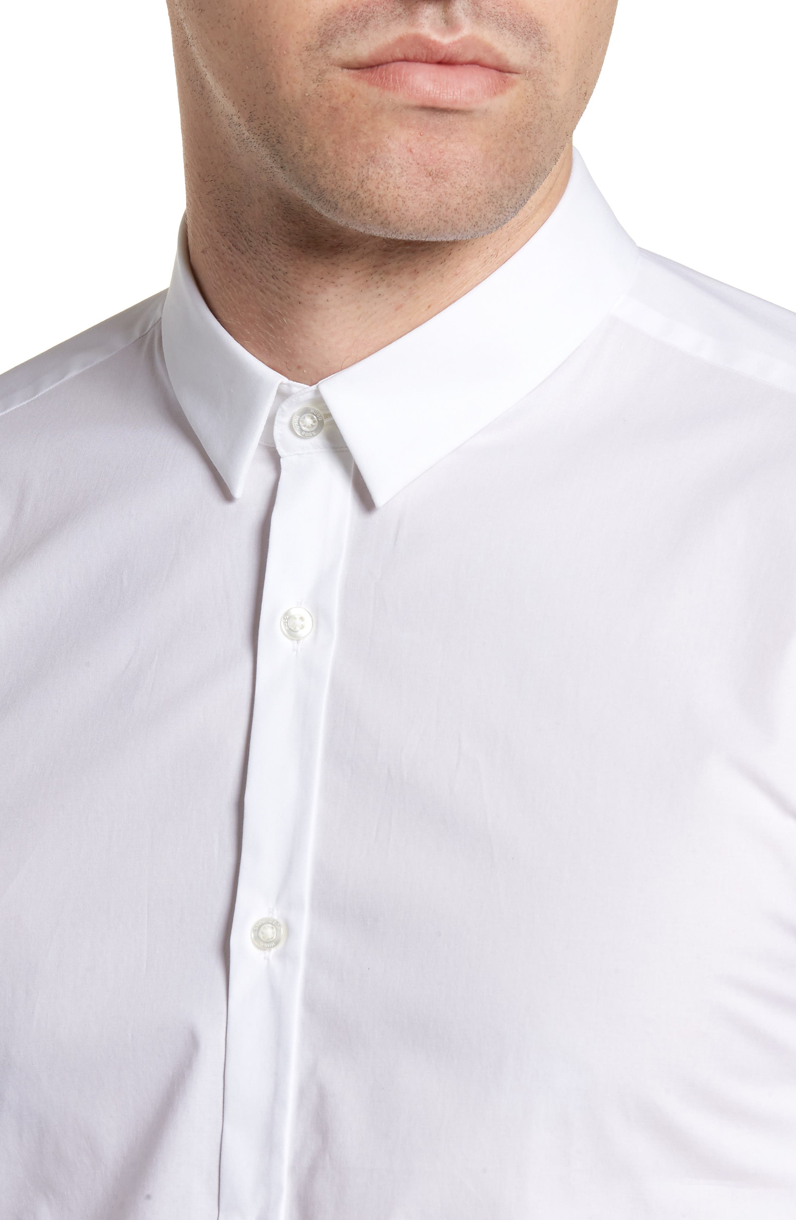 Ero3 Trim Fit Sport Shirt,                             Alternate thumbnail 4, color,                             White