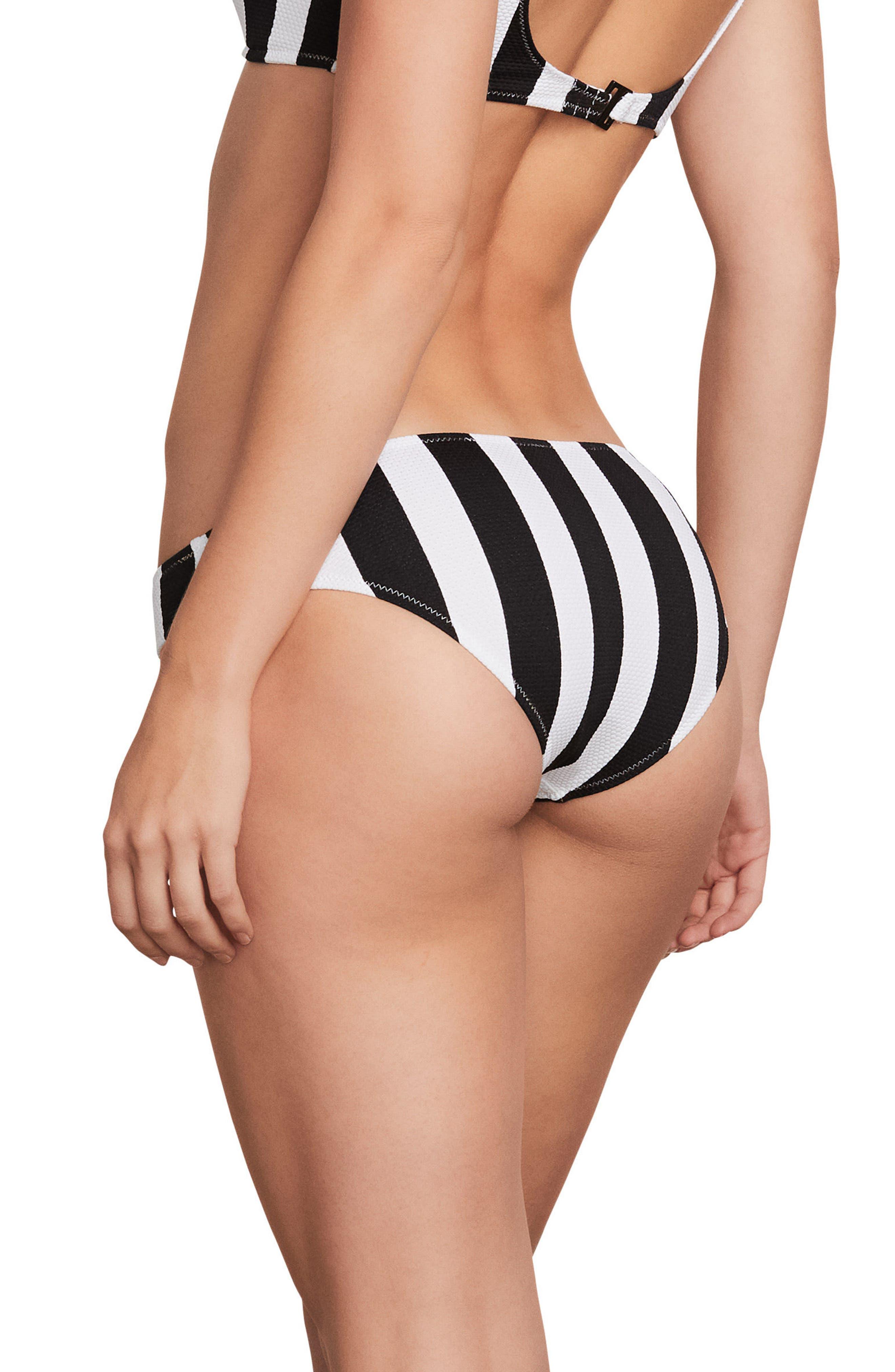 Stripe Club Classic Bikini Bottoms,                             Alternate thumbnail 2, color,                             Black